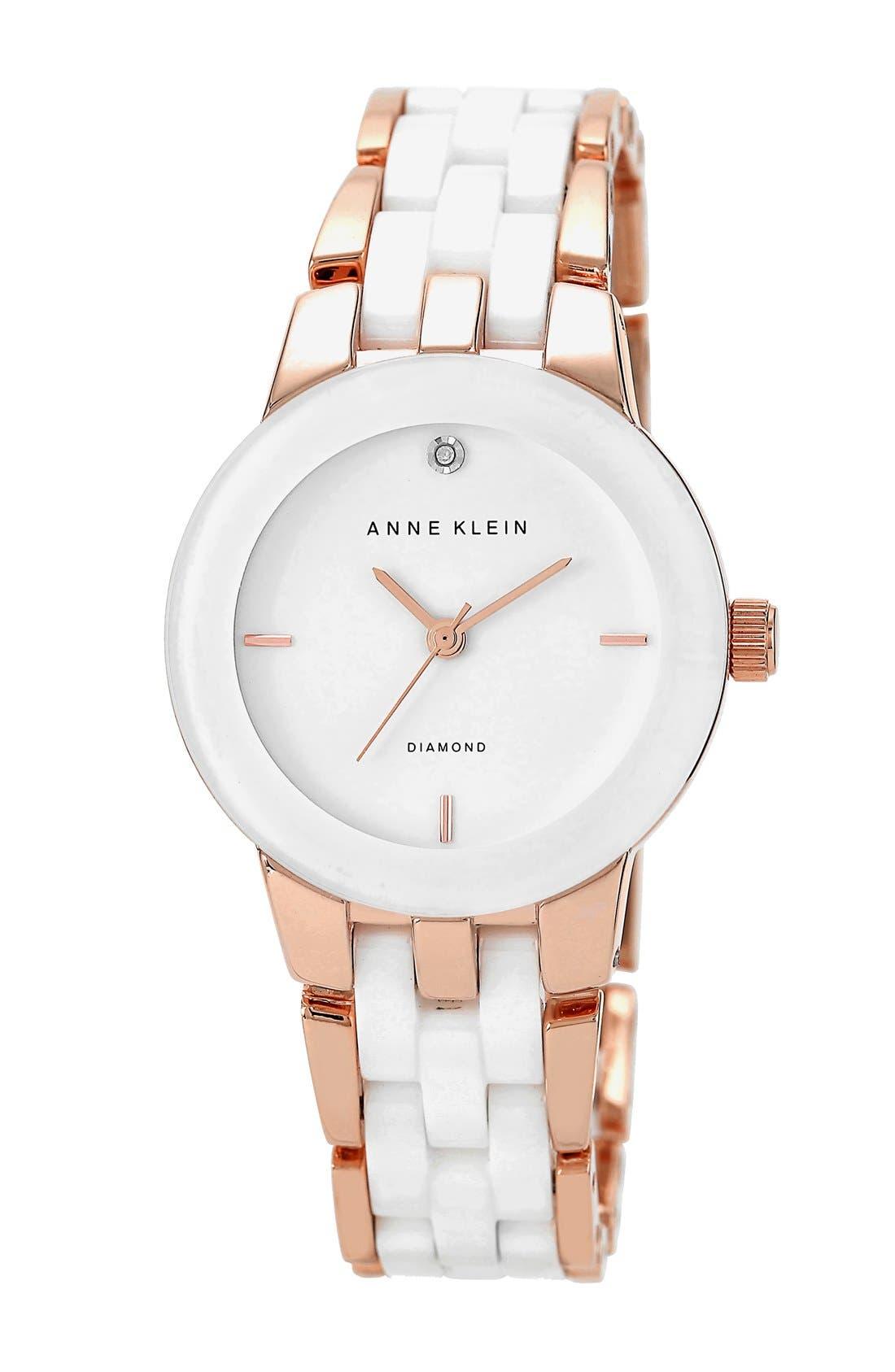 Alternate Image 1 Selected - Anne Klein Diamond Marker Ceramic Bracelet Watch, 30mm