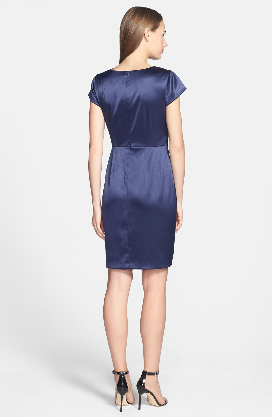 Alternate Image 2  - Donna Ricco Matte Stretch Satin Dress