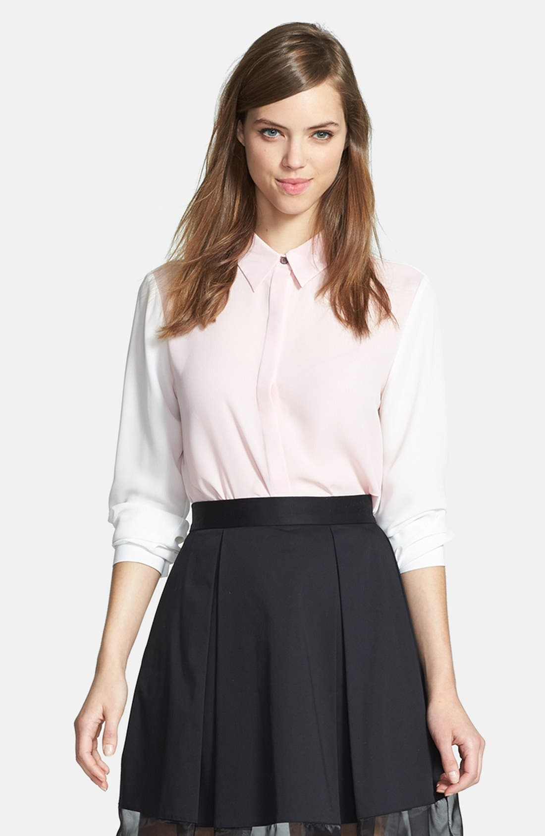Alternate Image 1 Selected - Vince Camuto Contrast Front Blouse