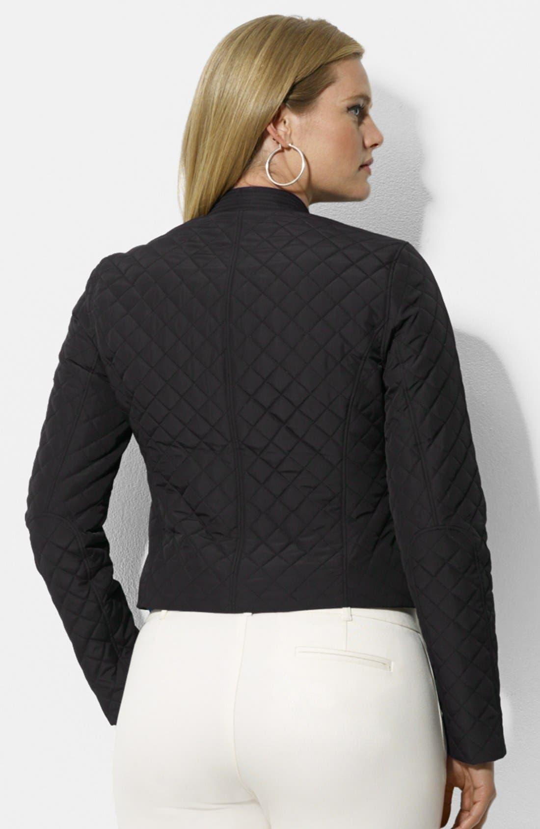 Alternate Image 2  - Lauren Ralph Lauren Quilted Hip Length Moto Jacket (Plus Size)