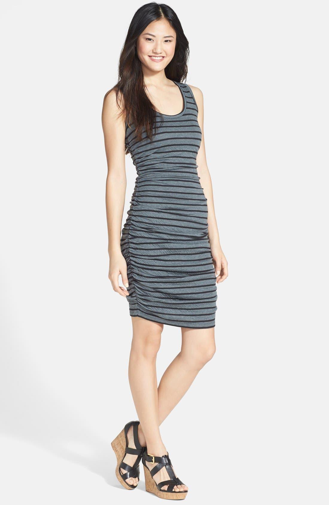 Main Image - Halogen® Side Ruched Stripe Jersey Dress (Regular & Petite)