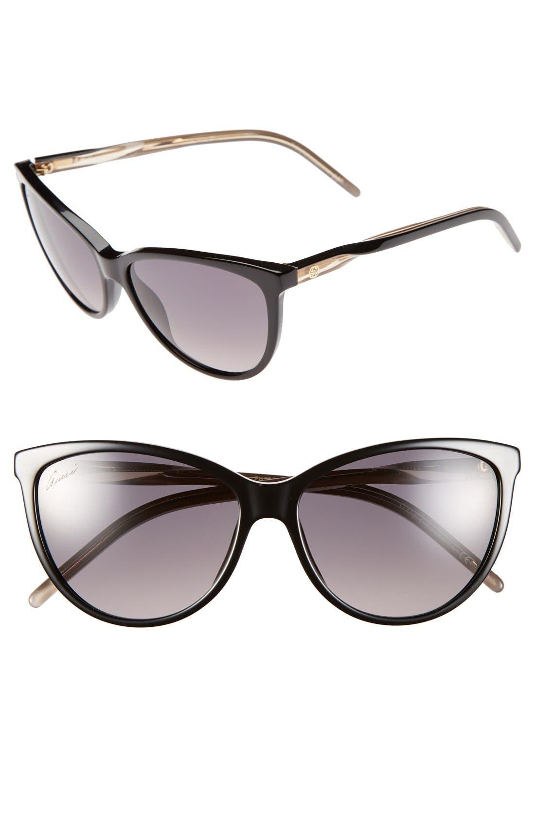 Alternate Image 1 Selected - Gucci 58mm Cat Eye Sunglasses