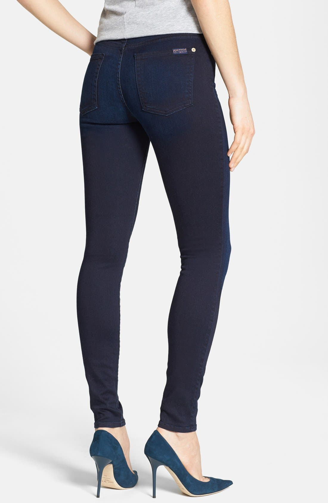 Alternate Image 2  - 7 For All Mankind® High Rise Skinny Jeans (Blue Black Sateen)