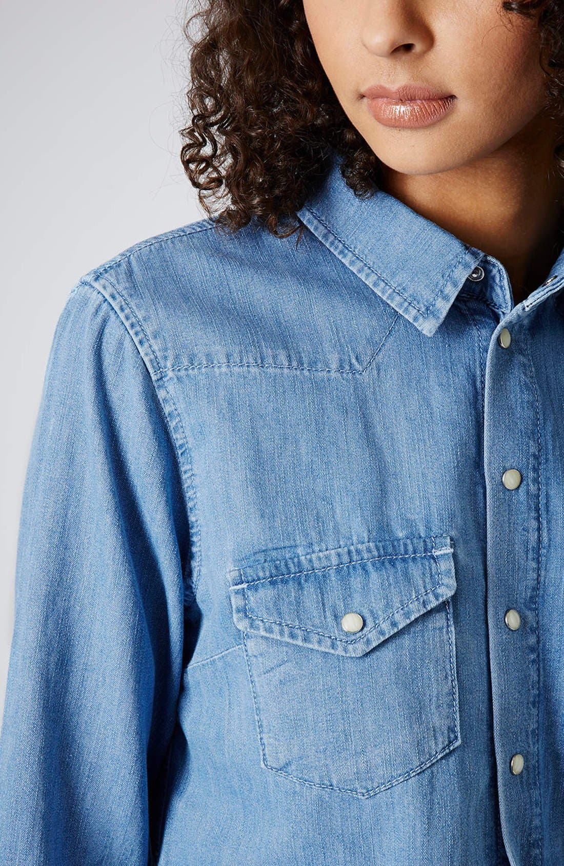 Alternate Image 4  - Topshop Moto Fitted Western Denim Shirt