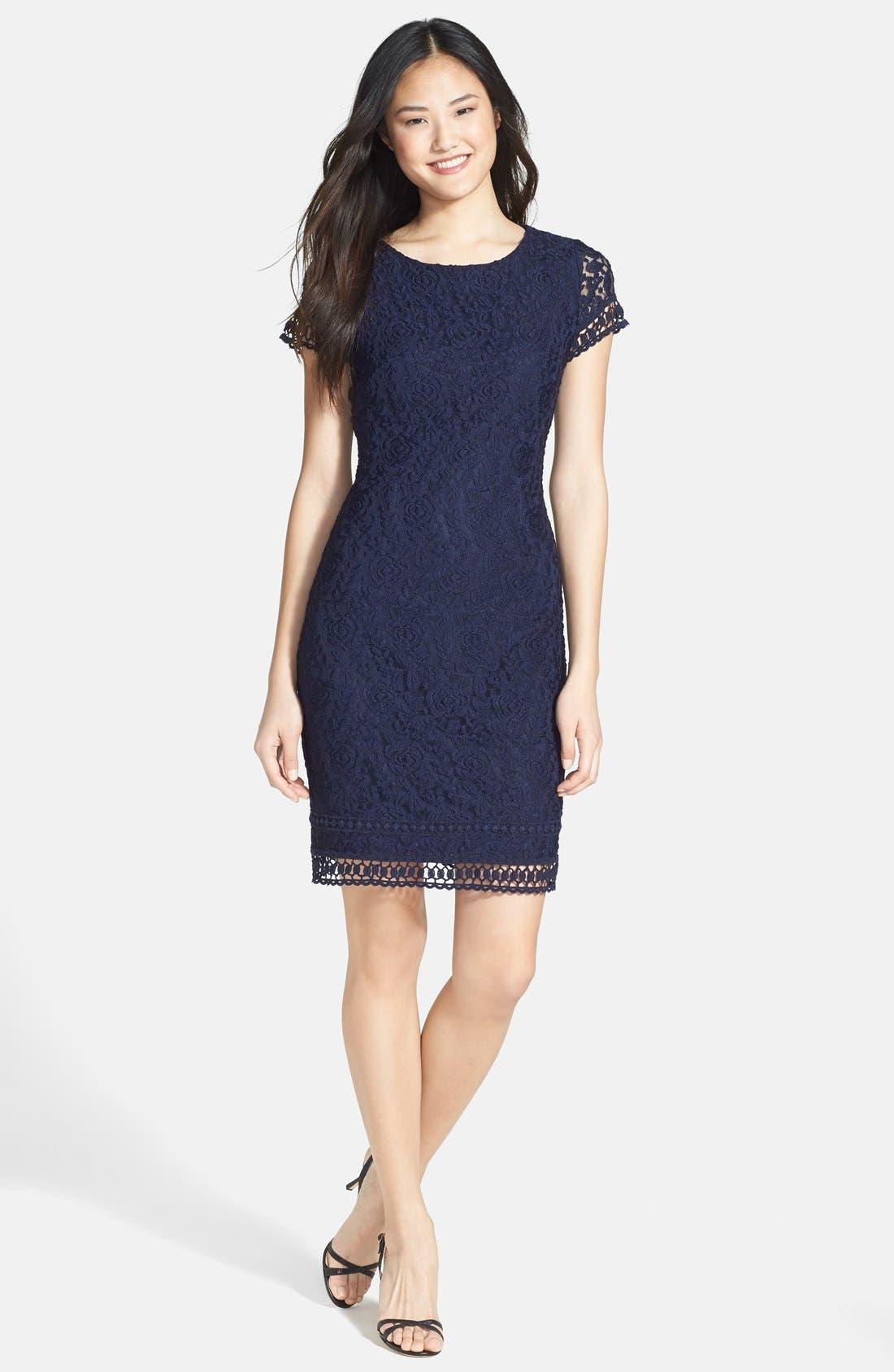 Main Image - Laundry by Shelli Segal Lace Sheath Dress (Petite)
