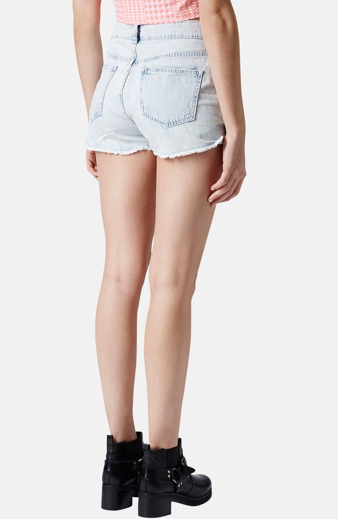 Alternate Image 2  - Topshop Moto 'Hallie' Destroyed Bleached Denim Shorts