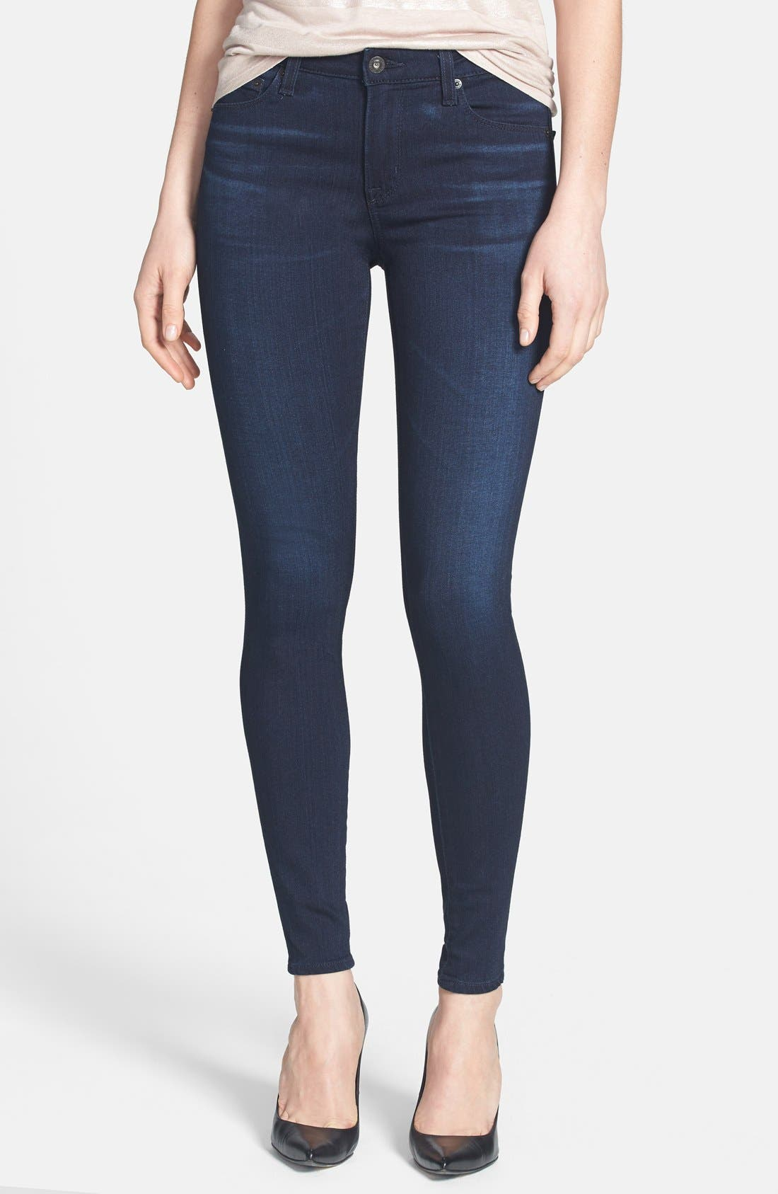 Alternate Image 1 Selected - Big Star 'Ava' Jeans Super Skinny Stretch Jeans (Harmony Dark) (Petite)