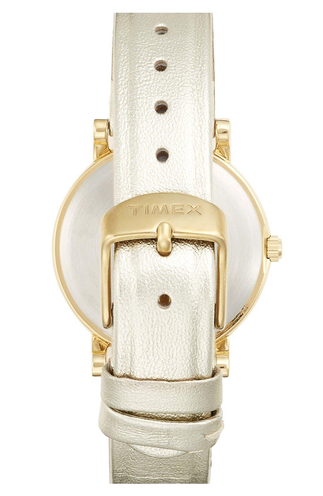 Alternate Image 2  - Timex® Round Leather Strap Watch, 33mm