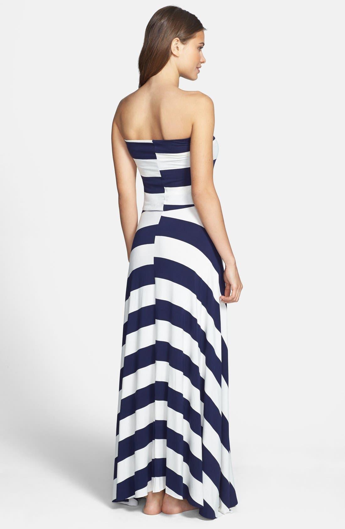 Alternate Image 2  - Elan Stripe Convertible Bias Cut Cover-Up Maxi Dress