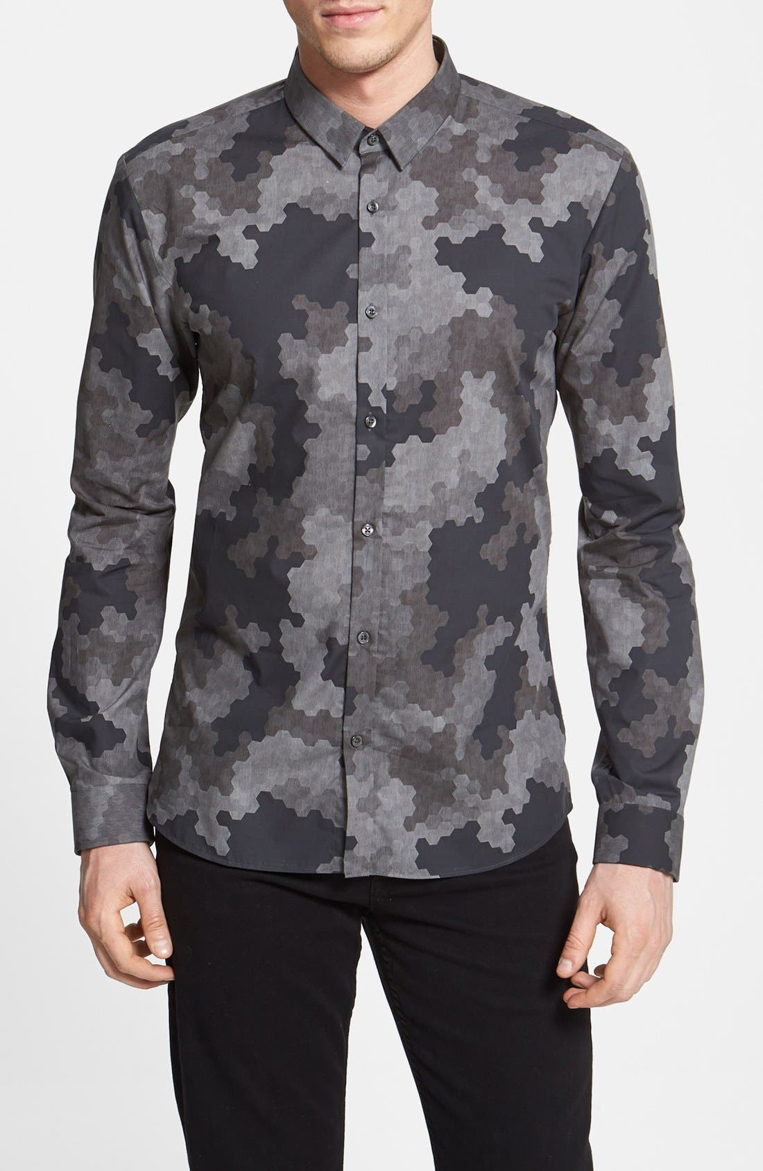 Alternate Image 1 Selected - HUGO 'Ero' Slim Fit Camo Print Sport Shirt