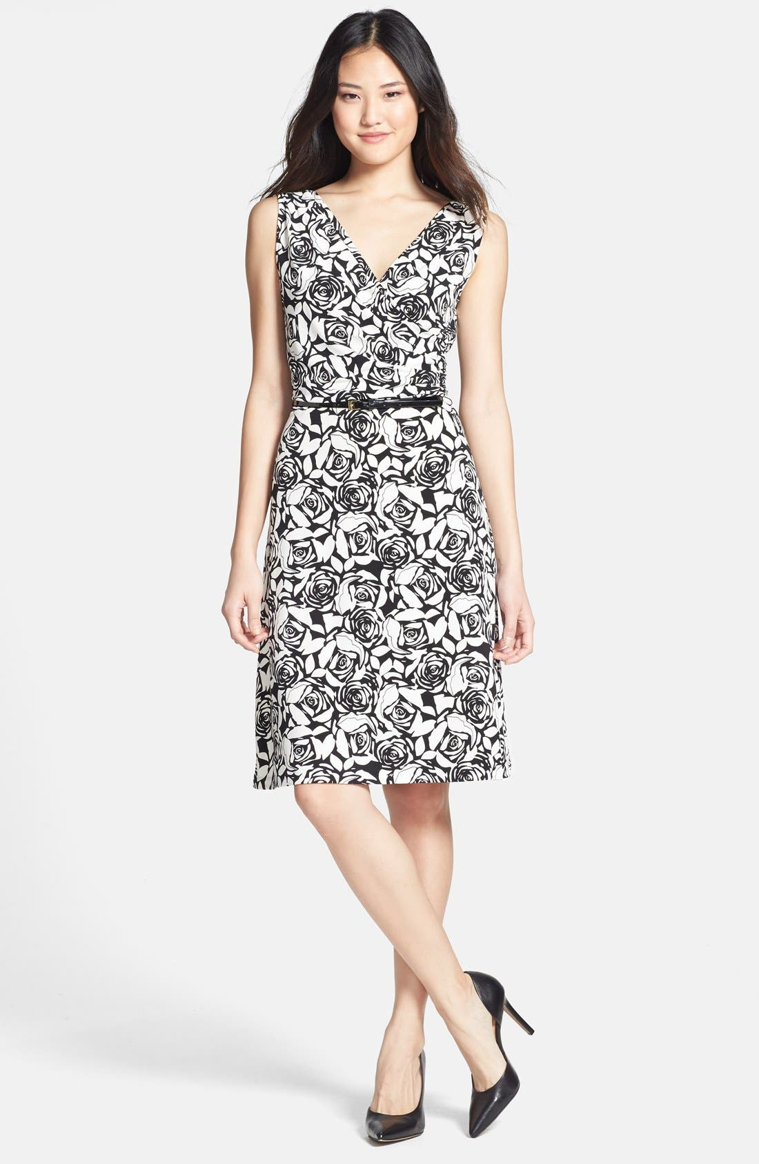 Main Image - Anne Klein Belted Rose Print Dress