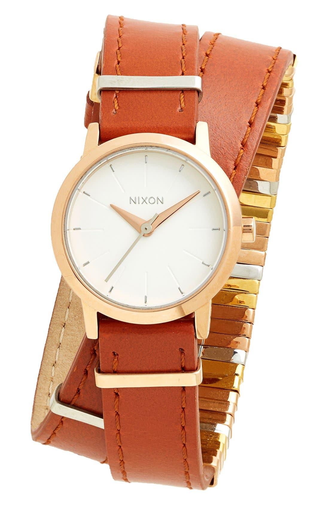 Alternate Image 1 Selected - Nixon 'The Kenzi' Metal Detail Wrap Leather Strap Watch, 26mm