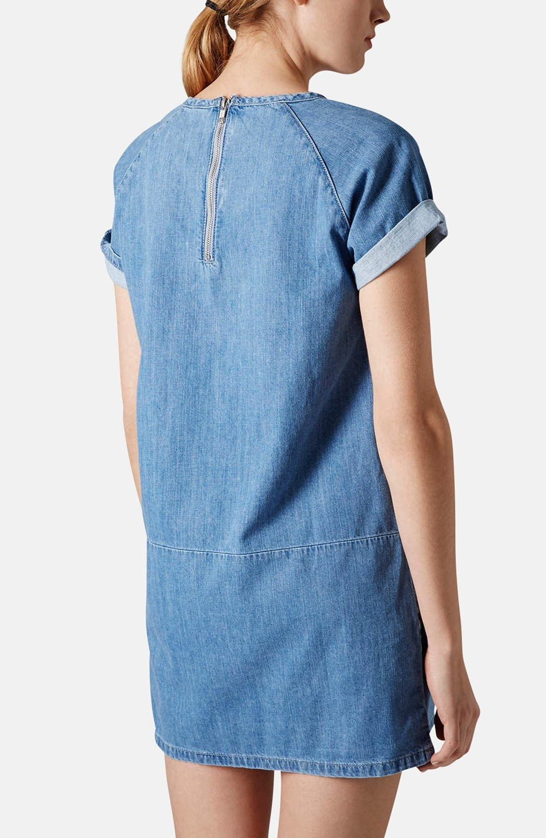 Alternate Image 2  - Topshop Moto Denim T-Shirt Dress (Petite)
