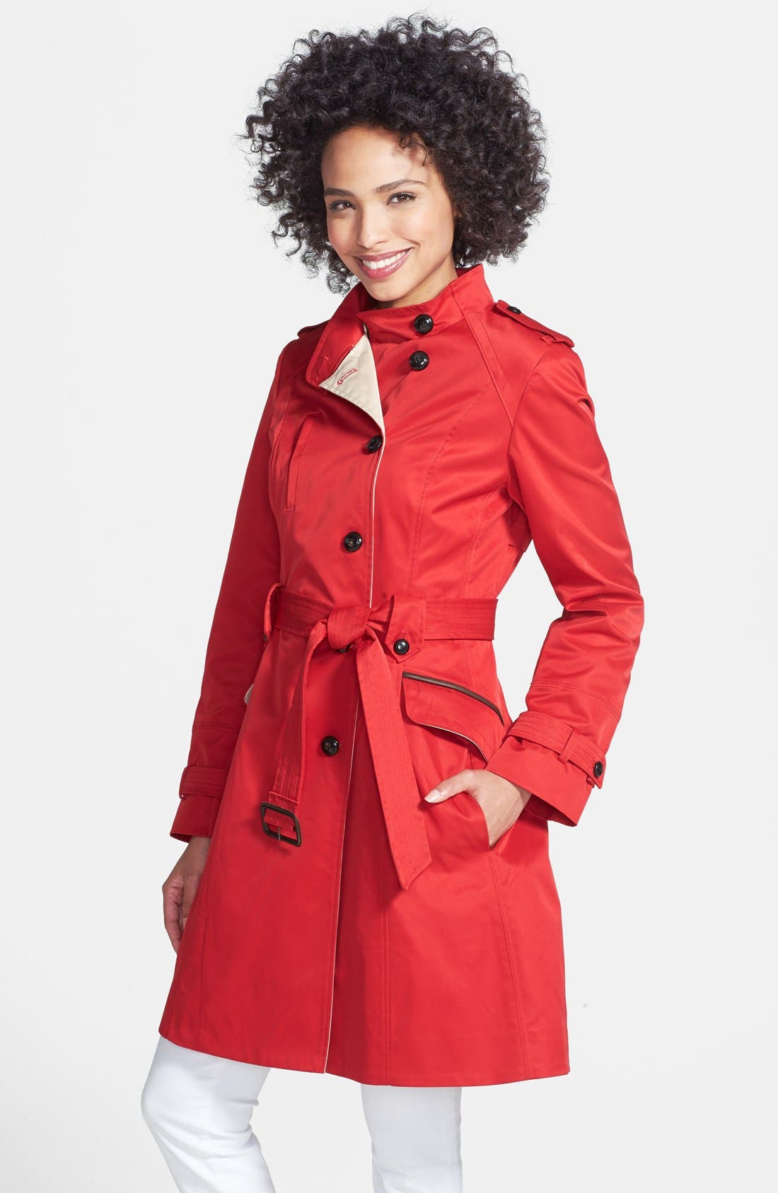 Main Image - Cole Haan Asymmetrical Skirted Trench Coat
