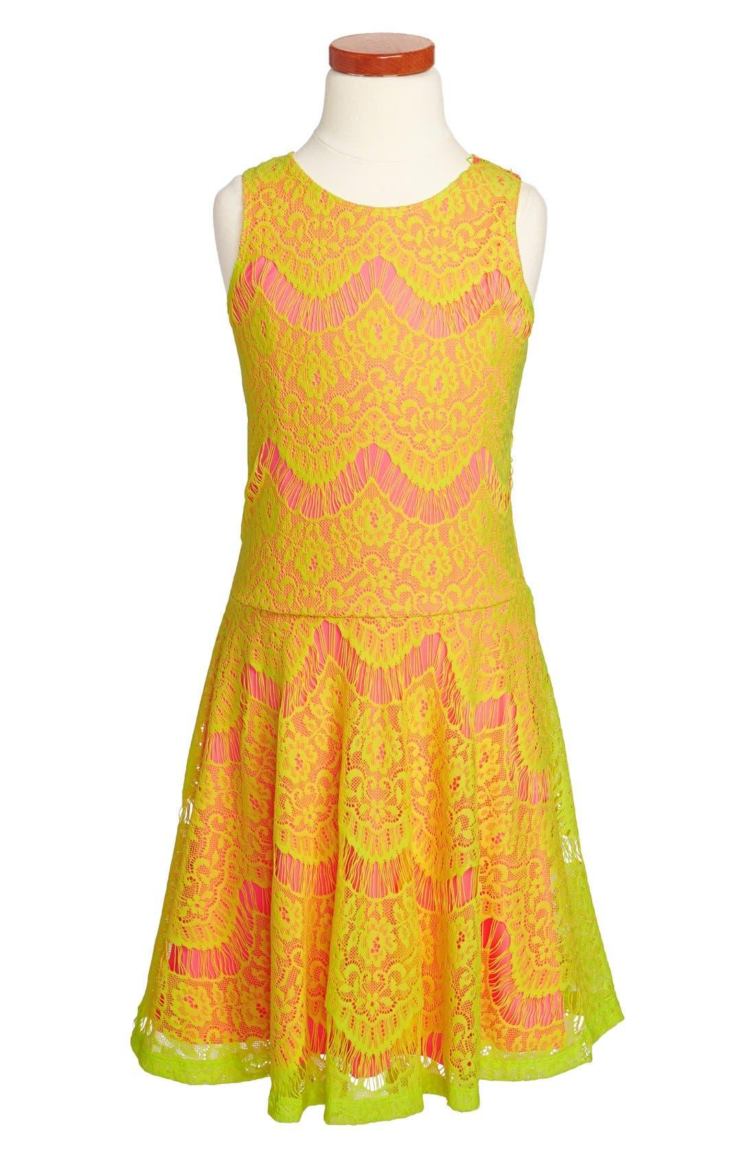 Alternate Image 1 Selected - Elisa B Lace Skater Dress (Big Girls)