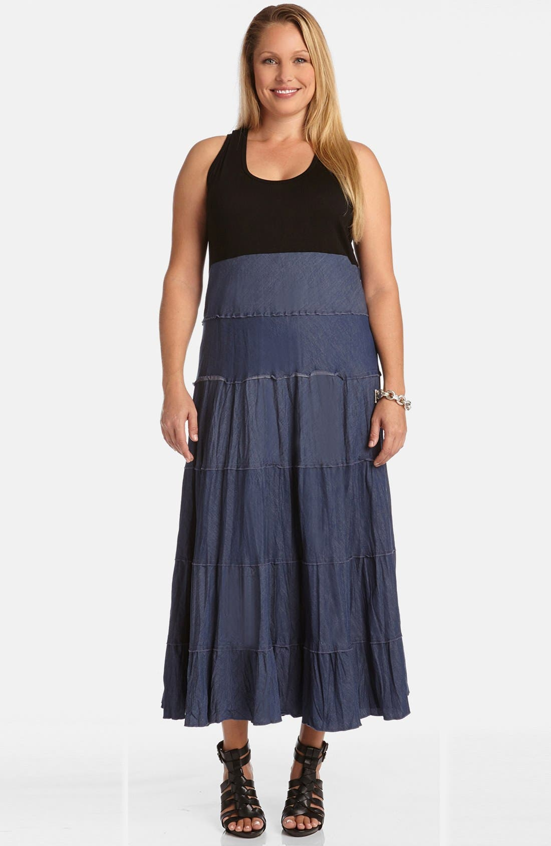 Main Image - Karen Kane Mixed Media Tiered Maxi Dress (Plus Size)