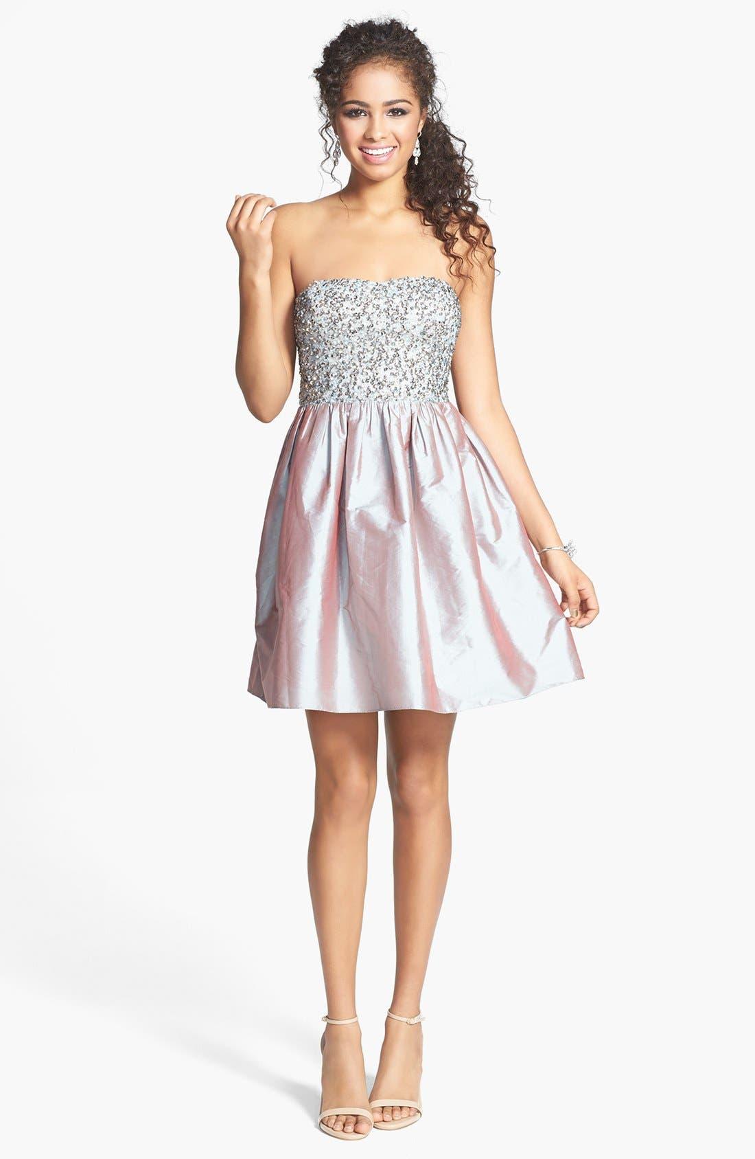 Alternate Image 1 Selected - Adrianna Papell Embellished Bodice Strapless Taffeta Dress