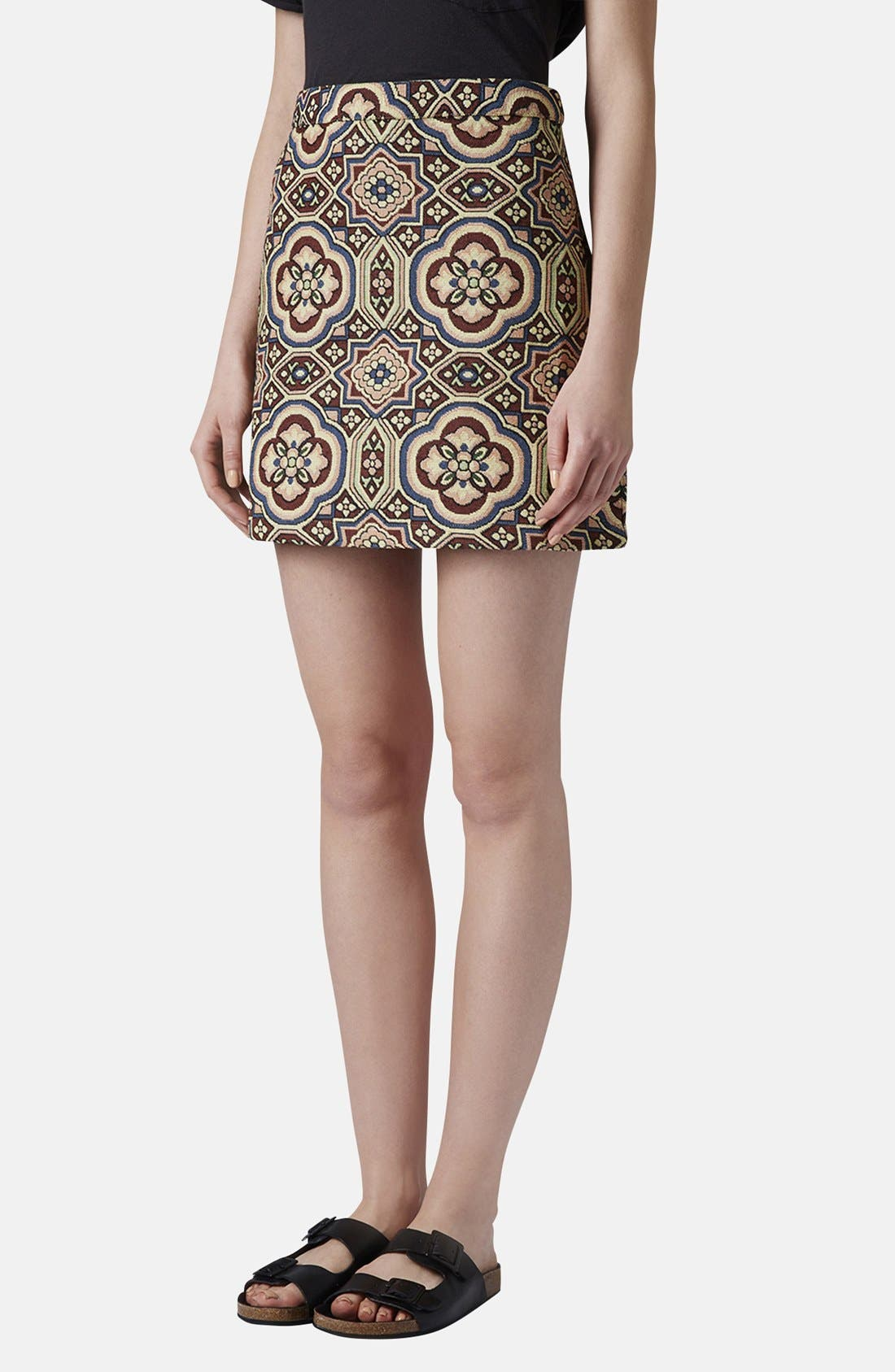 Main Image - Topshop Folk Jacquard A-Line Skirt