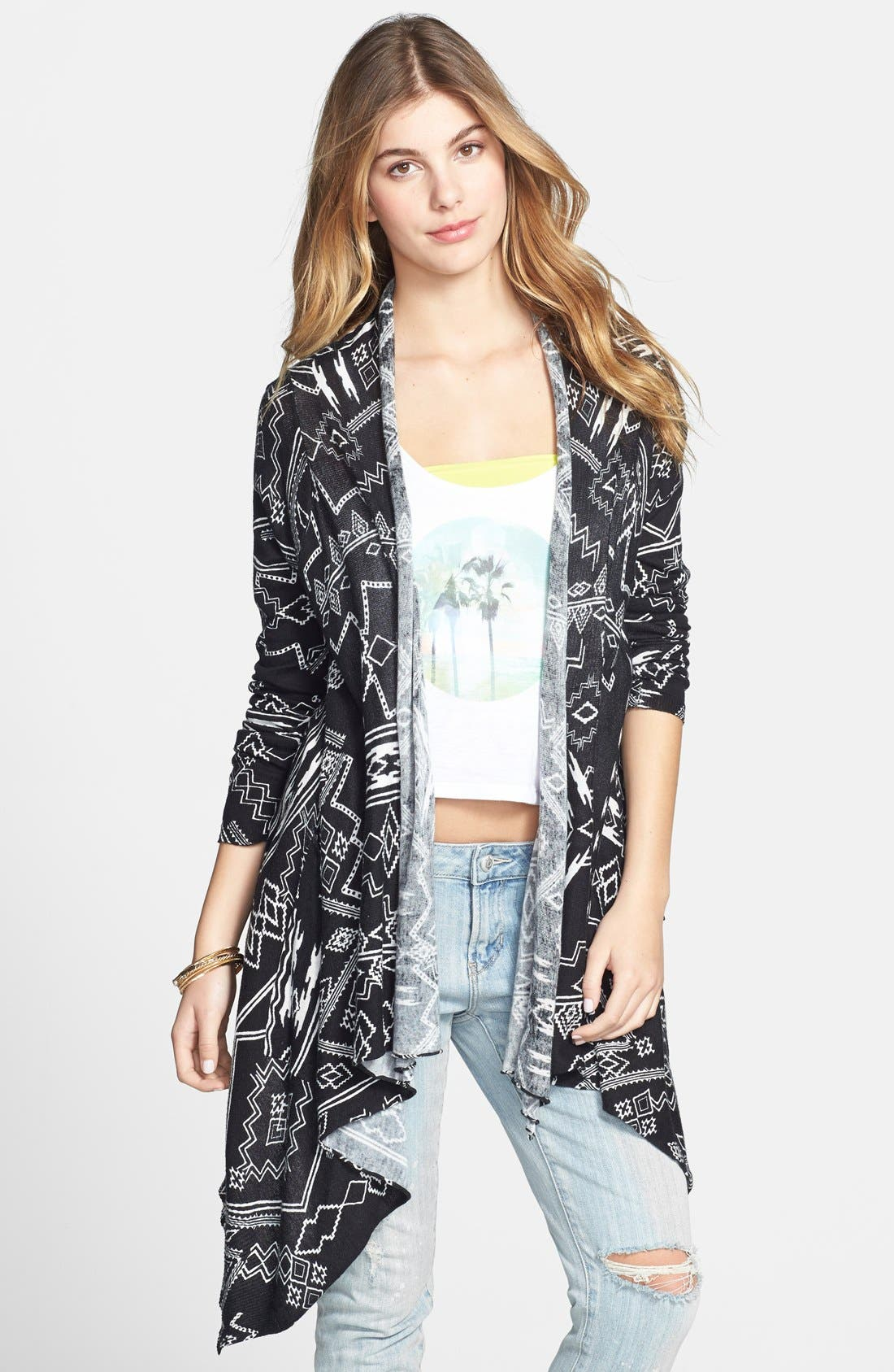 Alternate Image 1 Selected - Billabong 'Drift Together' Geometric Pattern Open Front Cardigan (Juniors)