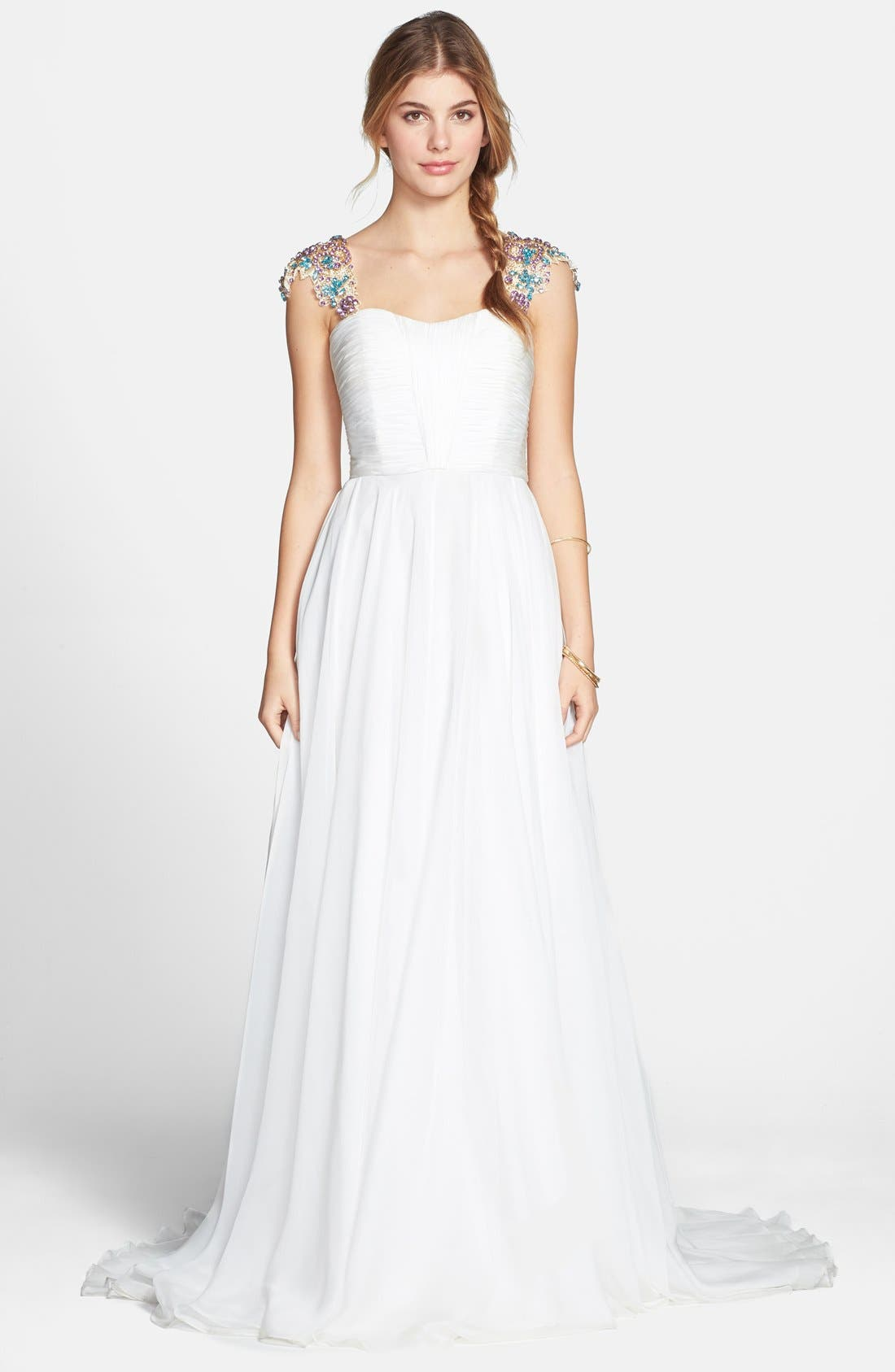 Alternate Image 1 Selected - Sherri Hill Embellished Cap Sleeve Chiffon Gown