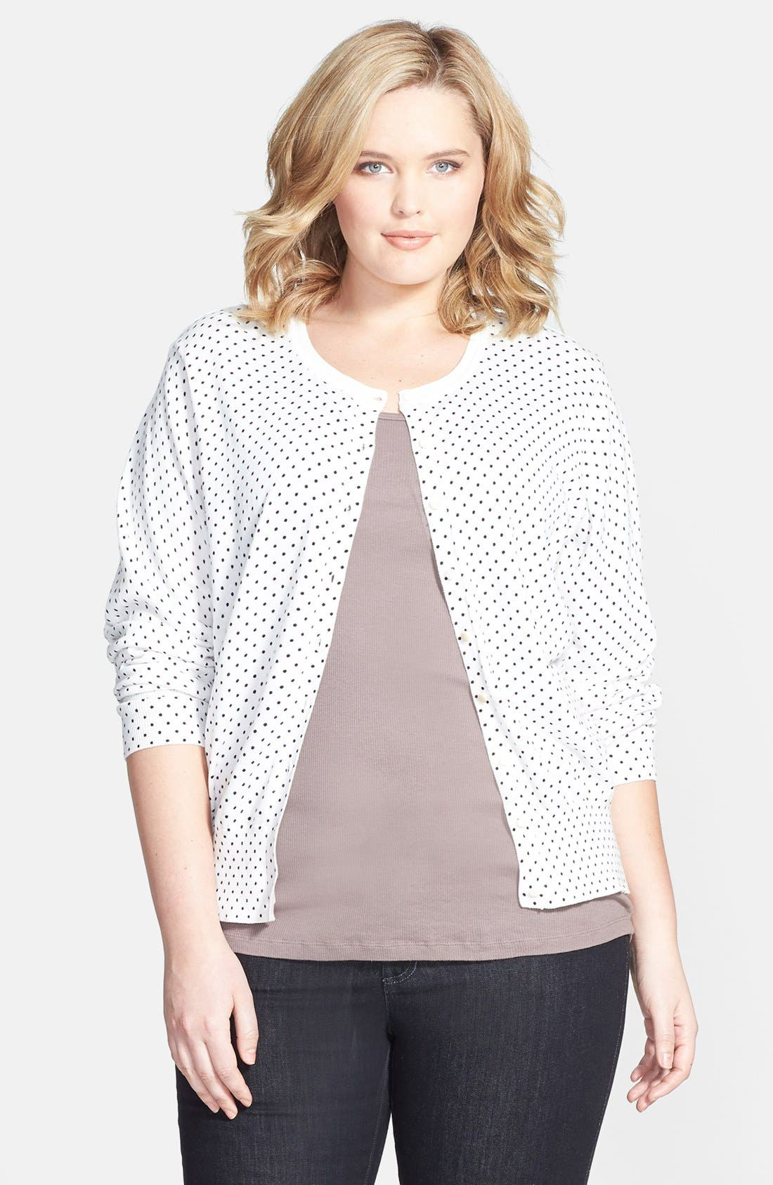 Main Image - Foxcroft Polka Dot Button Front Cardigan (Plus Size)