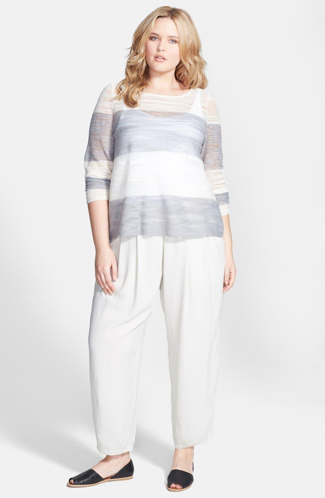 Alternate Image 4  - Eileen Fisher Pleated Silk Crop Pants (Plus Size)