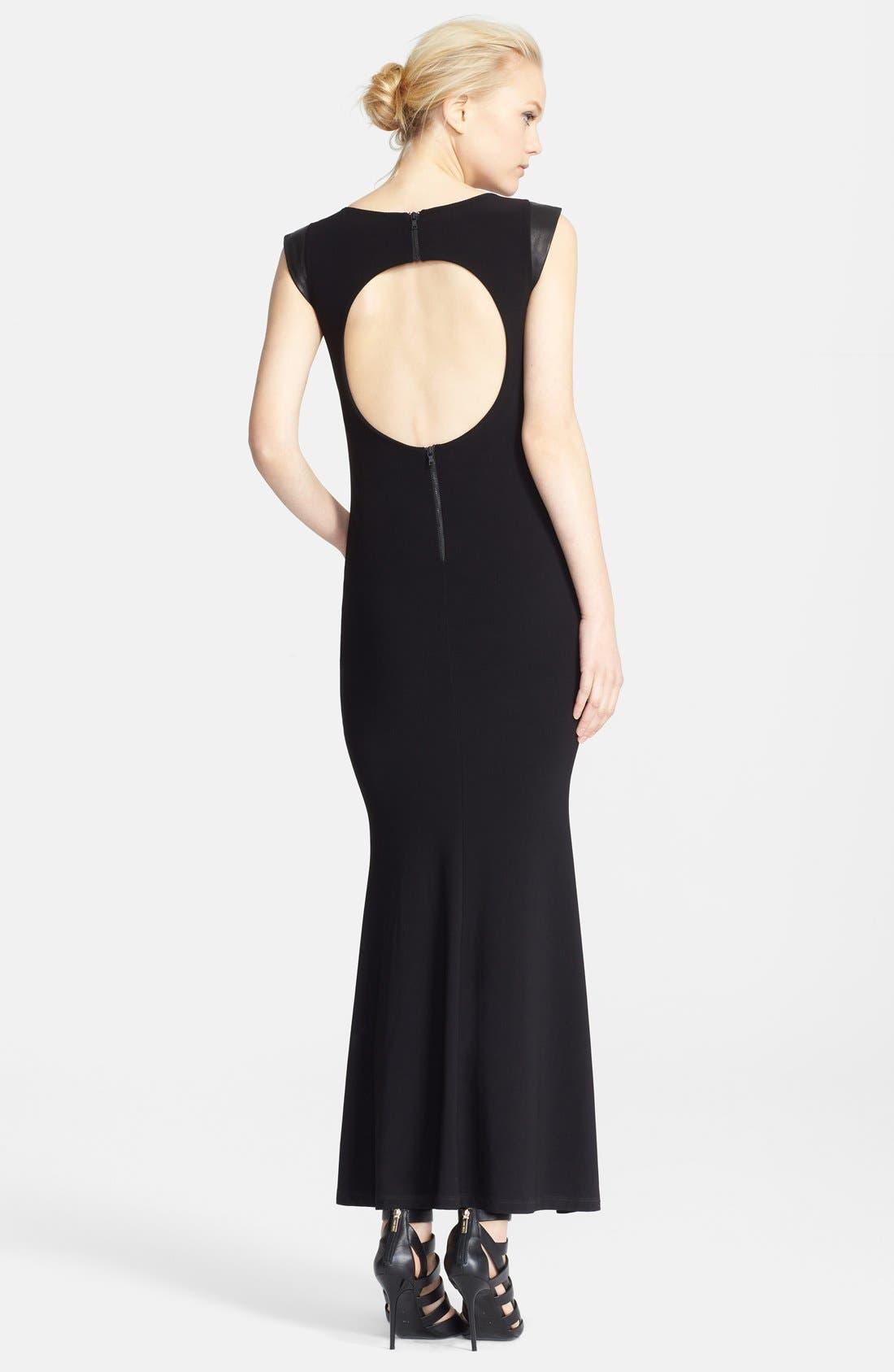Alternate Image 2  - Alice + Olivia Leather Trim Cutout Back Maxi Dress