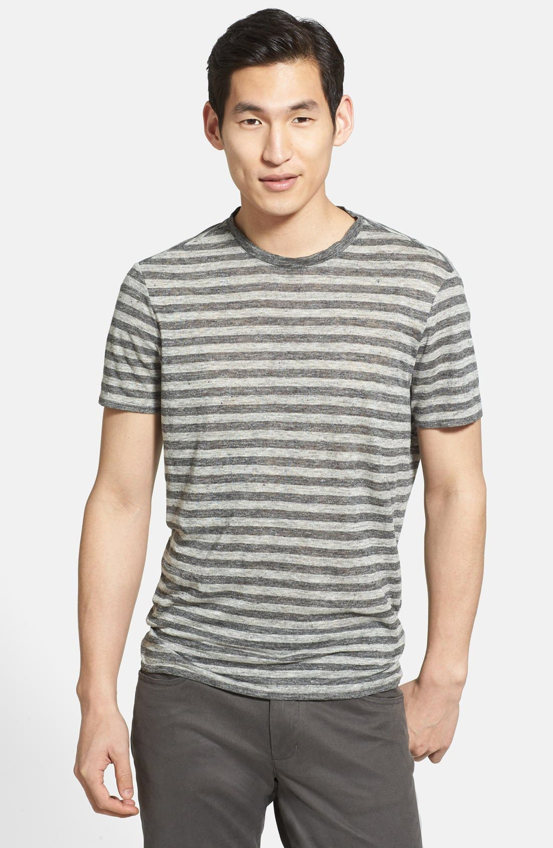 Alternate Image 1 Selected - Vince Stripe Linen Crewneck T-Shirt