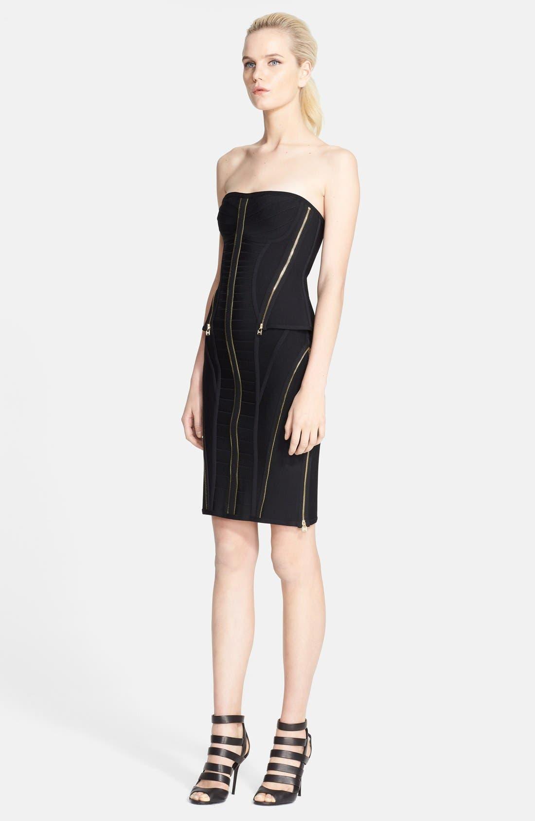 Main Image - Herve Leger Zip Detail Bandage Peplum Dress