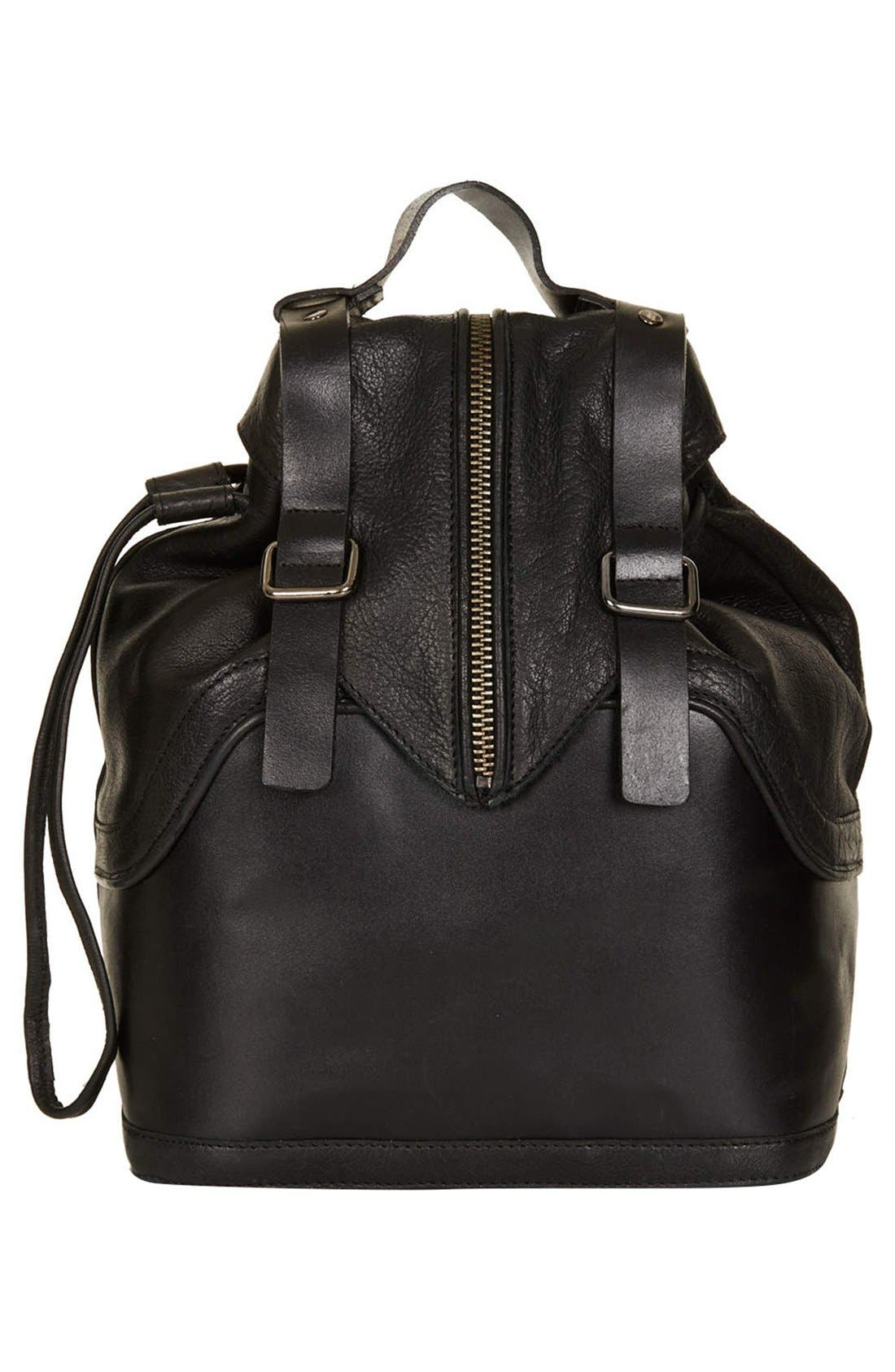 Alternate Image 1 Selected - Topshop Buckled Leather Backpack