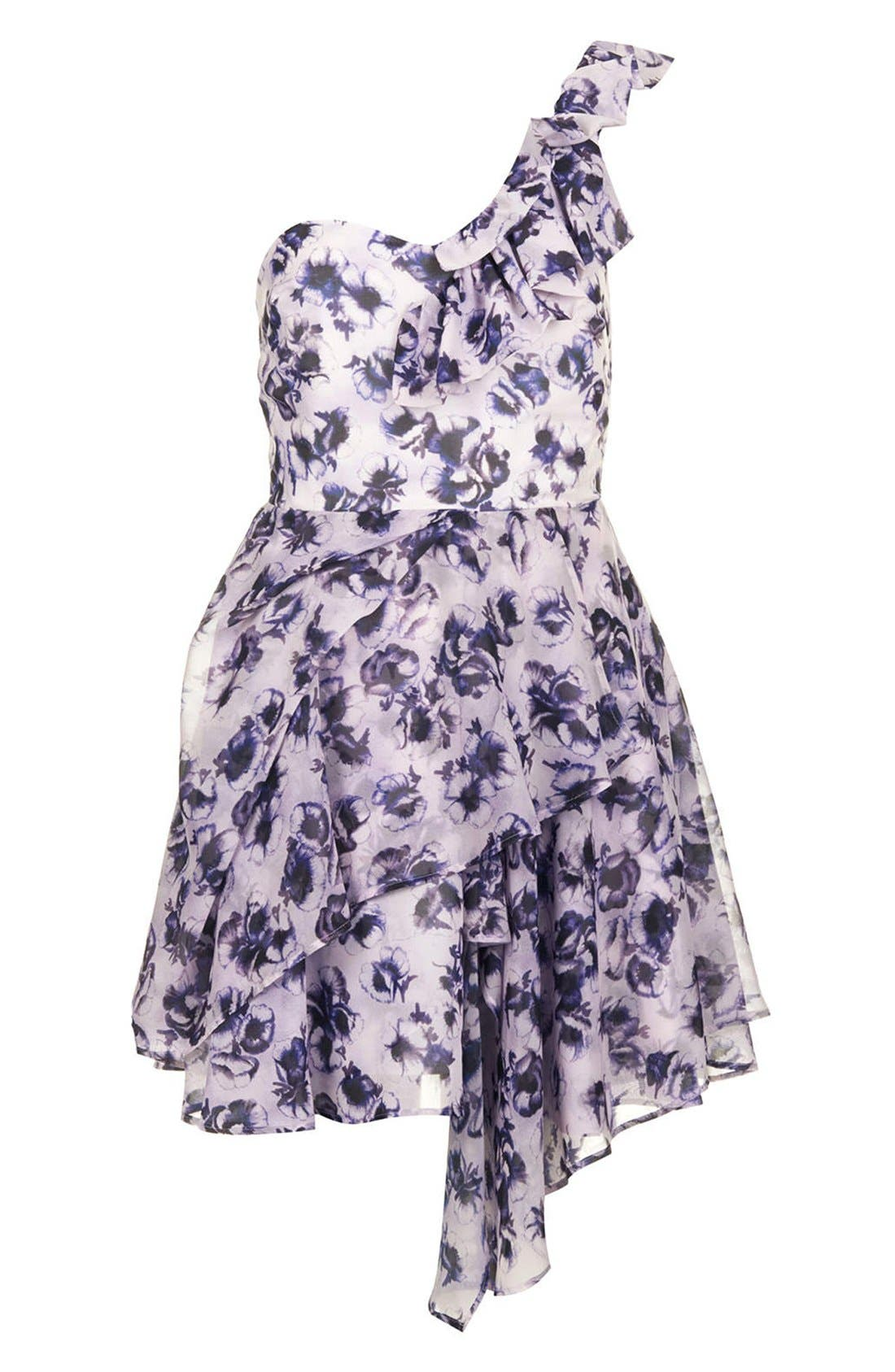 Alternate Image 3  - Topshop One-Shoulder Floral Chiffon Dress
