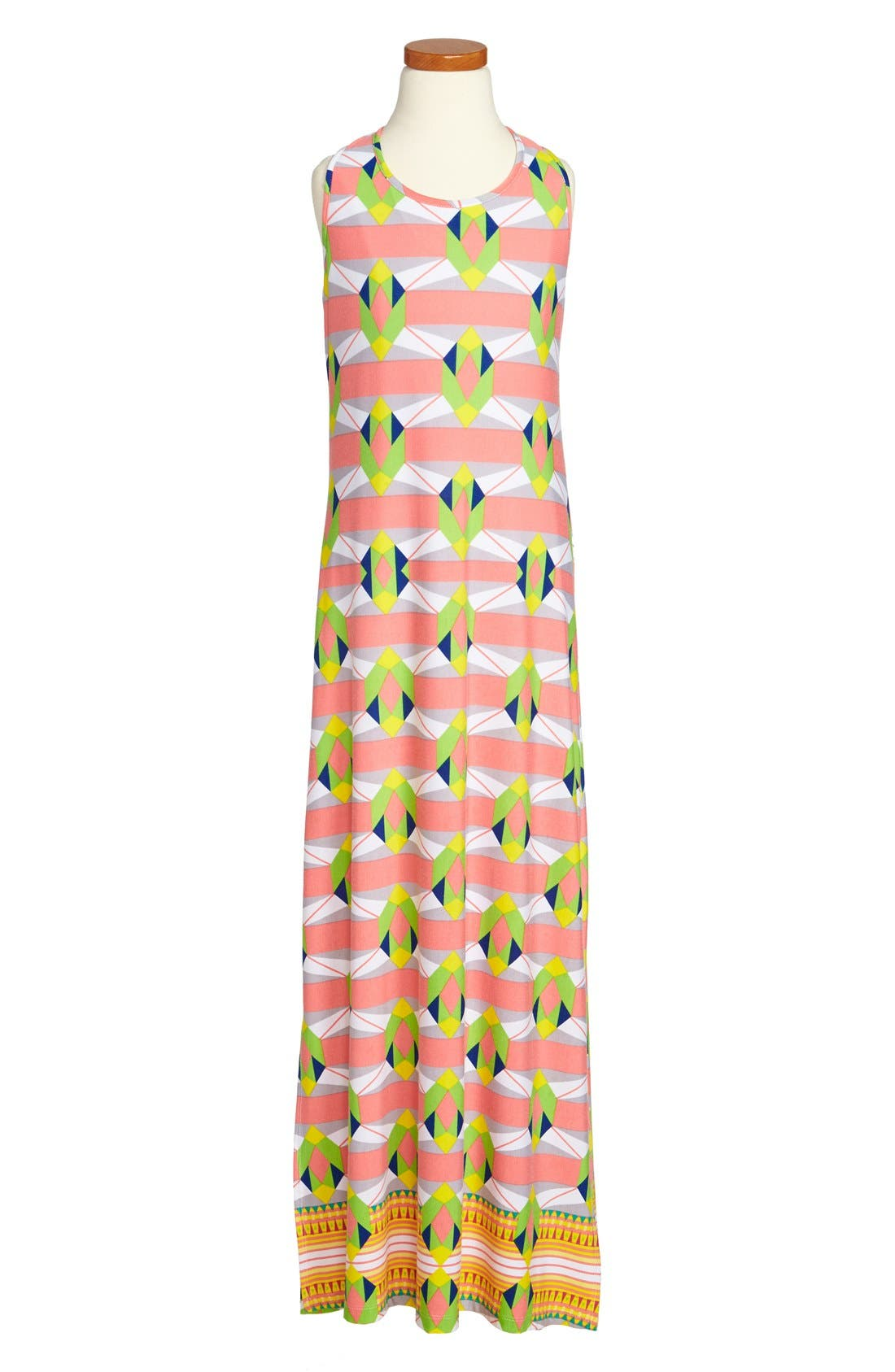 Alternate Image 1 Selected - Mia Chica Geometric Print Maxi Dress (Big Girls)