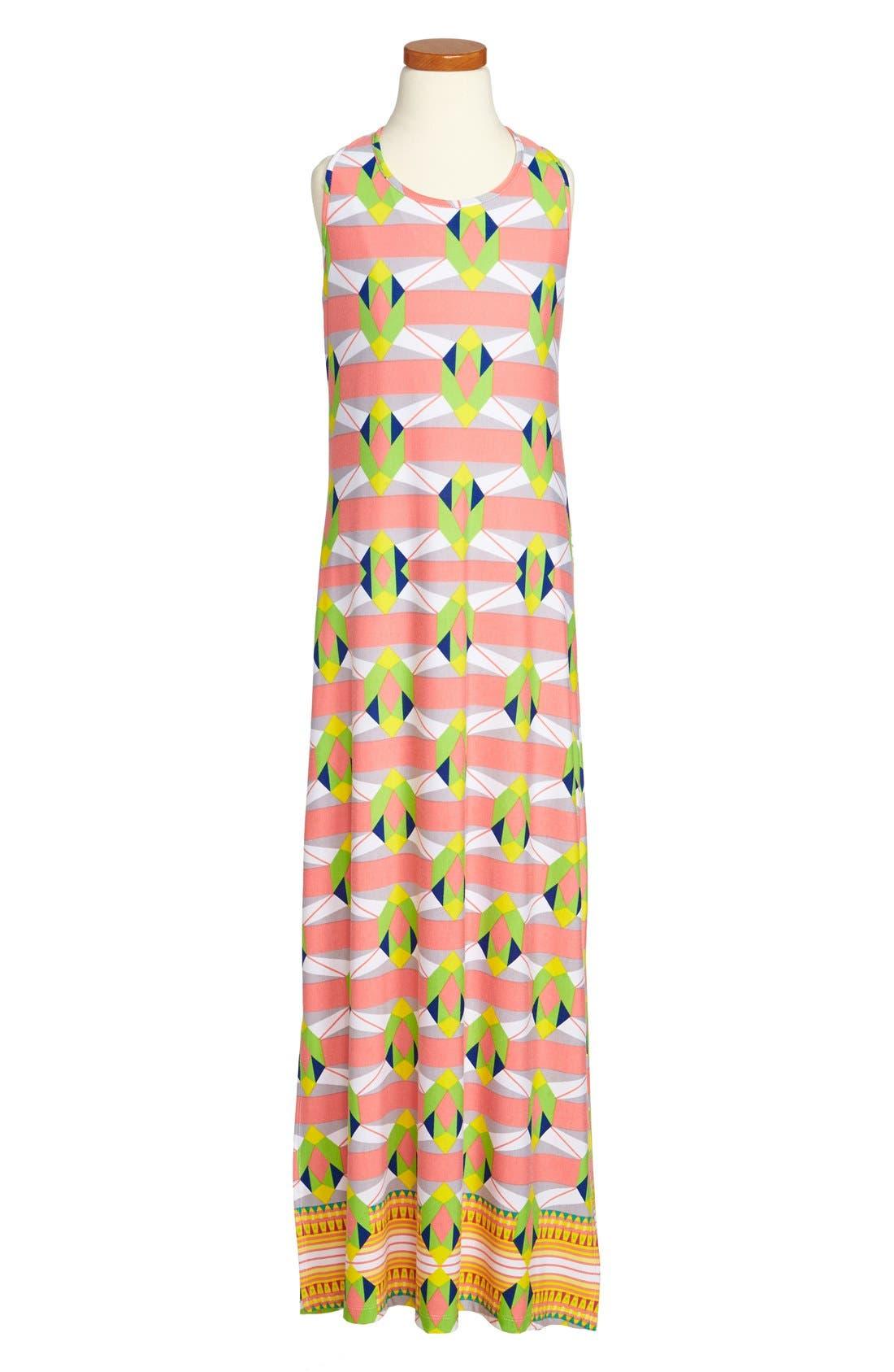 Main Image - Mia Chica Geometric Print Maxi Dress (Big Girls)