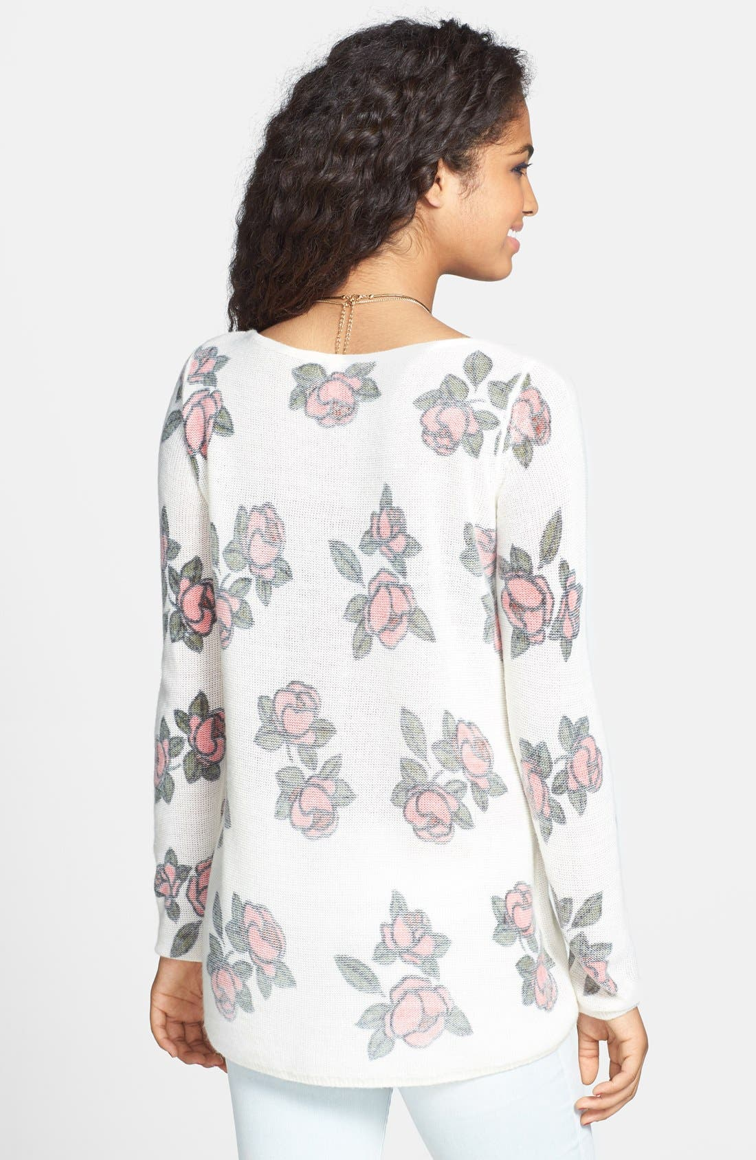 Alternate Image 2  - Frenchi® 'Floral Grunge' Tunic Pullover (Juniors)