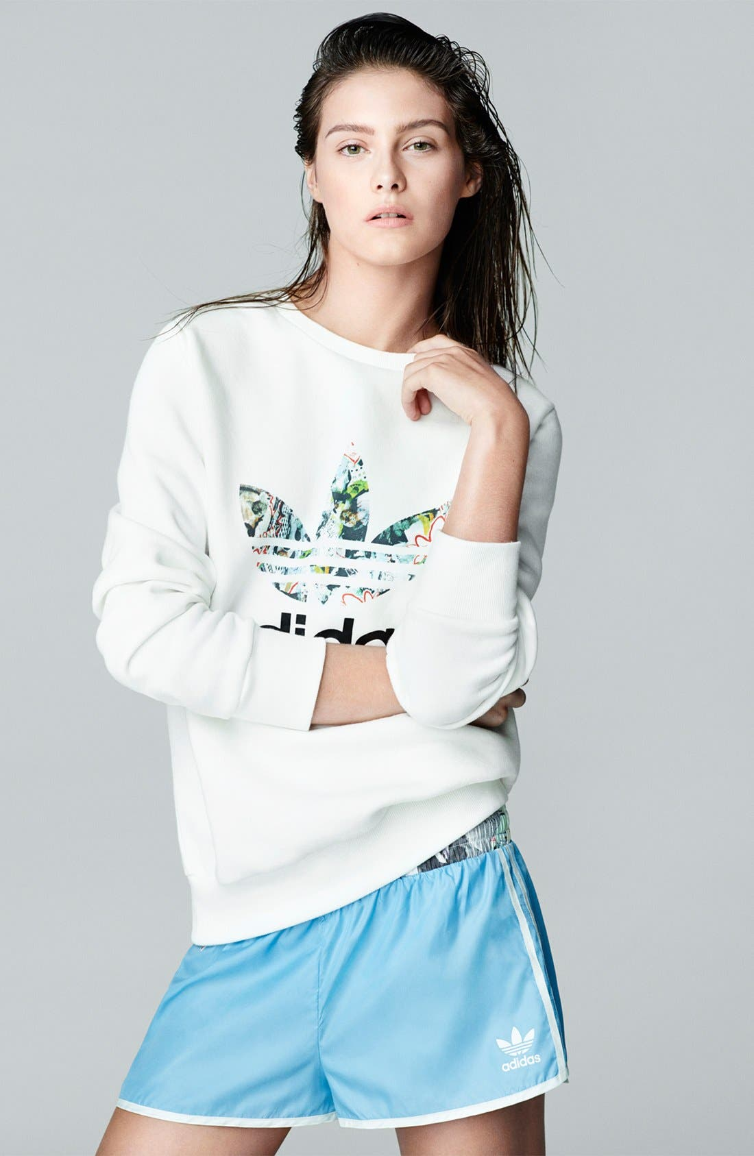 Alternate Image 6  - Topshop x adidas Originals Blue Shorts