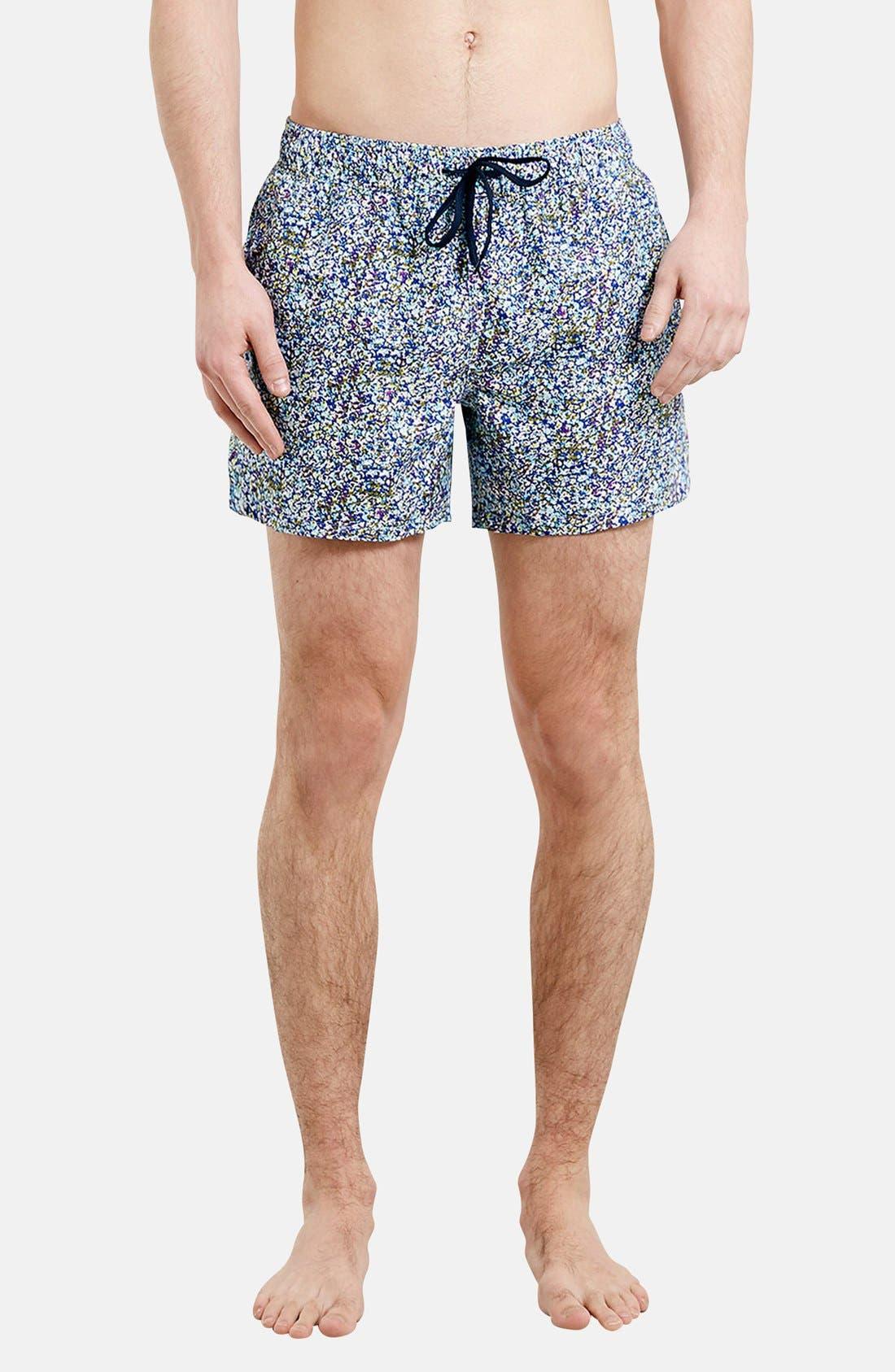 Alternate Image 1 Selected - Topman Floral Print Swim Trunks