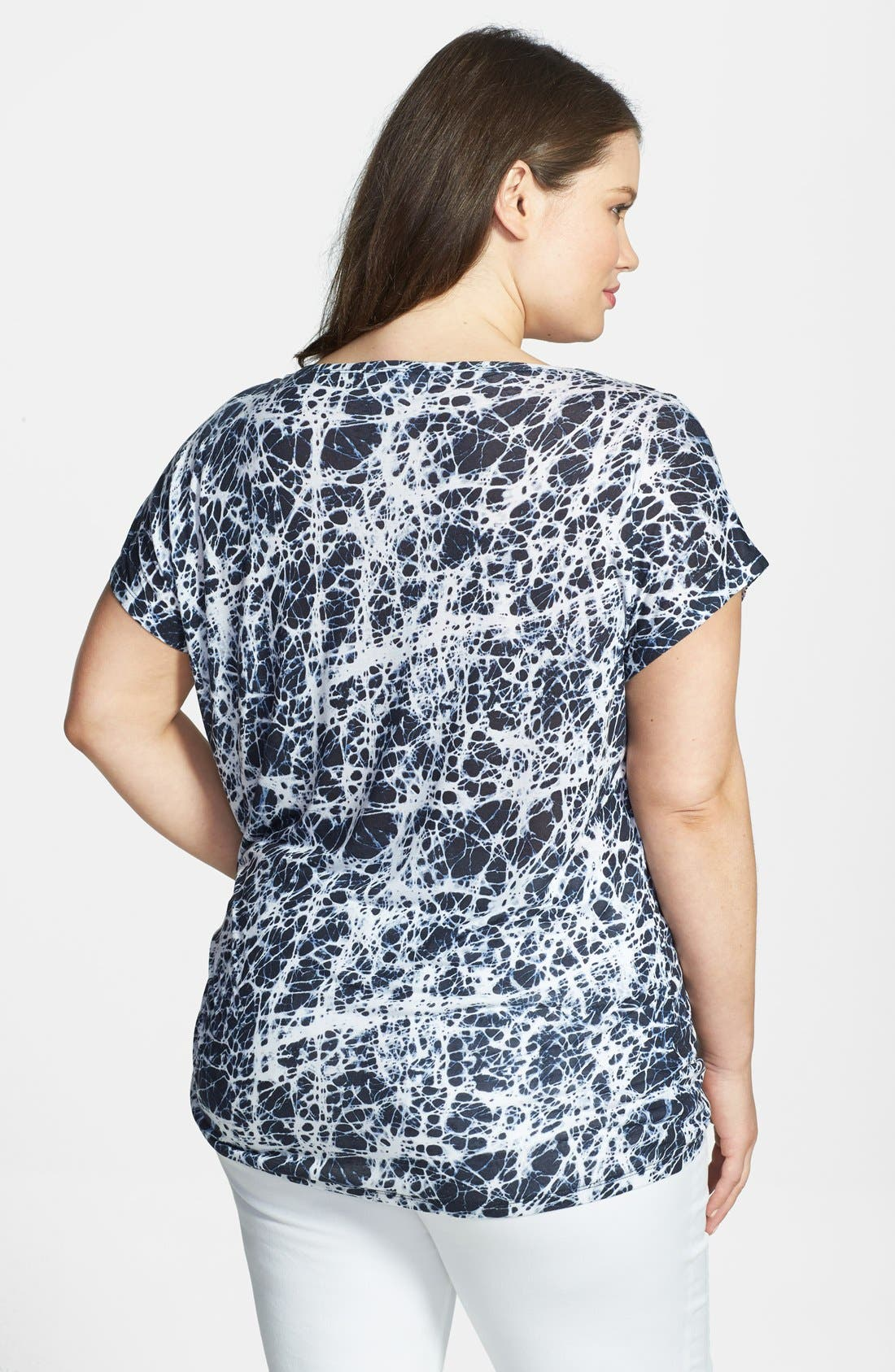 Alternate Image 2  - MICHAEL Michael Kors Print Flutter Sleeve Side Tie Top (Plus Size)