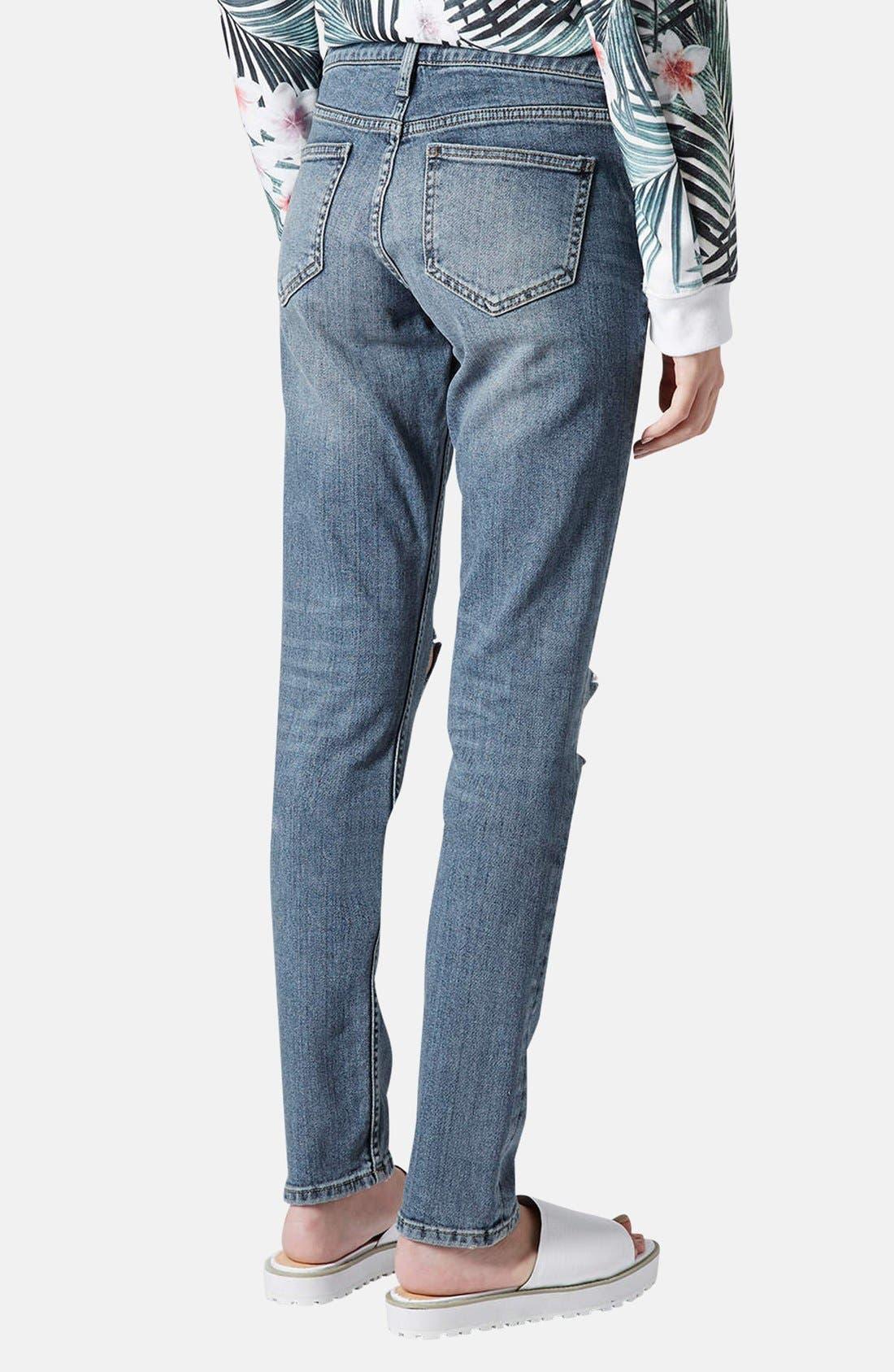 Alternate Image 2  - Topshop Moto 'Rita' Distressed Skinny Jeans (Mid Denim) (Short)