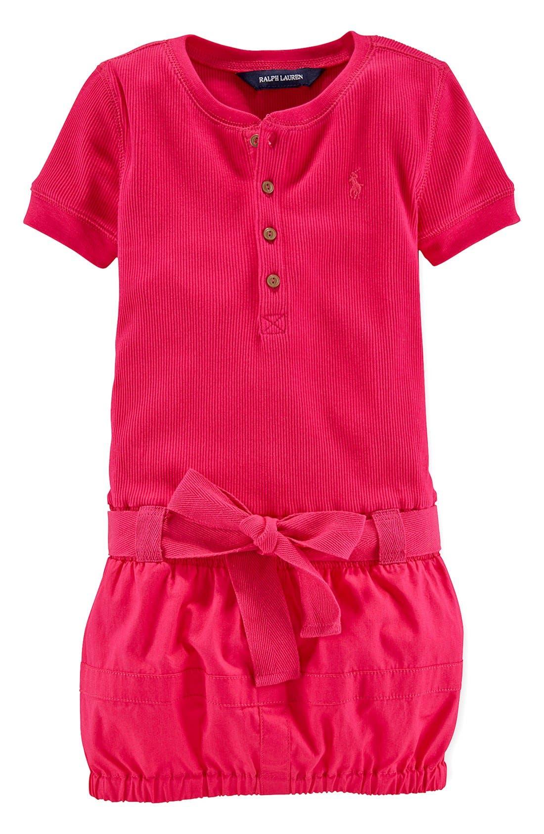 Alternate Image 1 Selected - Ralph Lauren Cotton Cargo Dress (Toddler Girls)