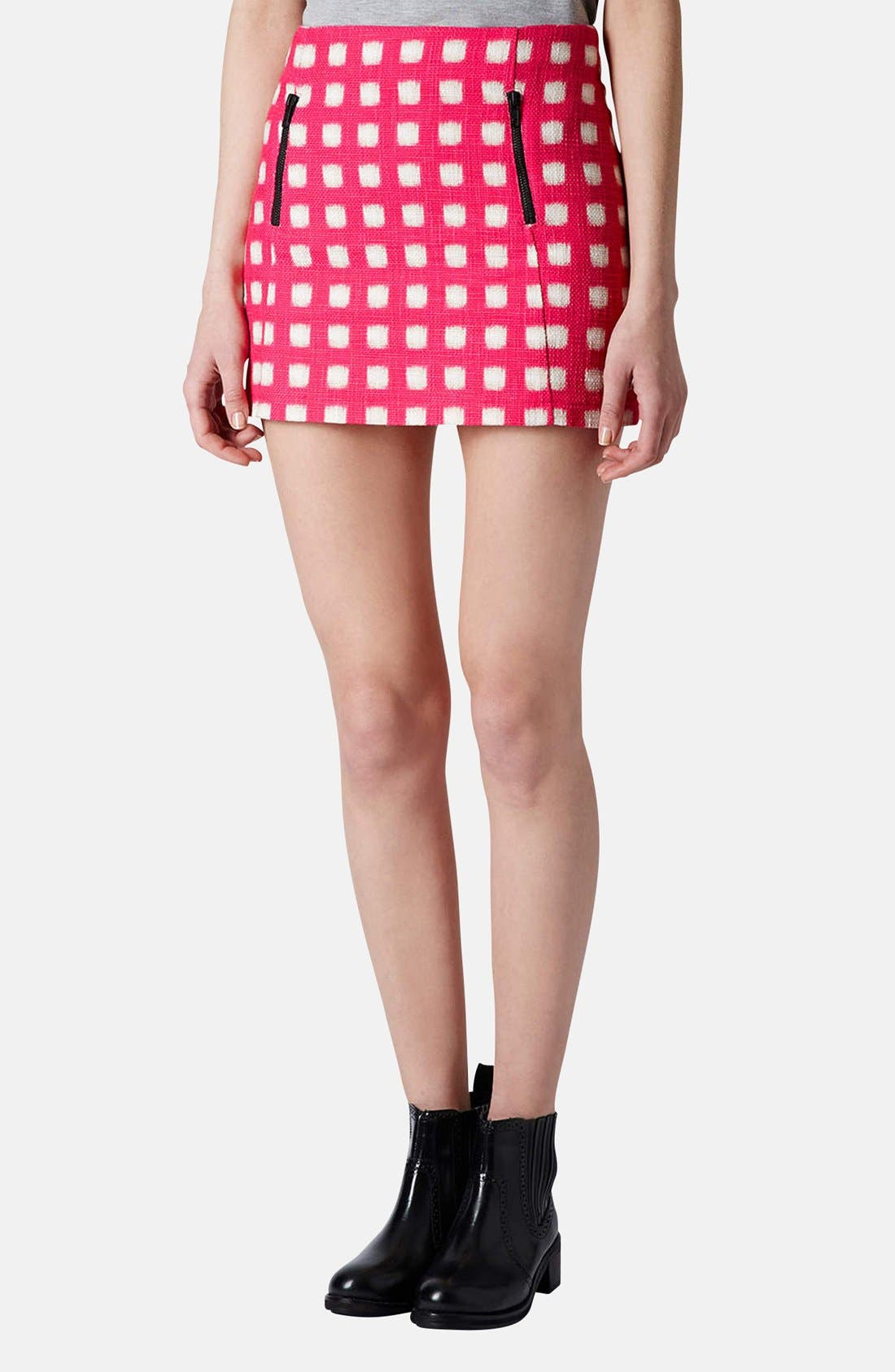 Main Image - Topshop Grid Print Cotton Miniskirt