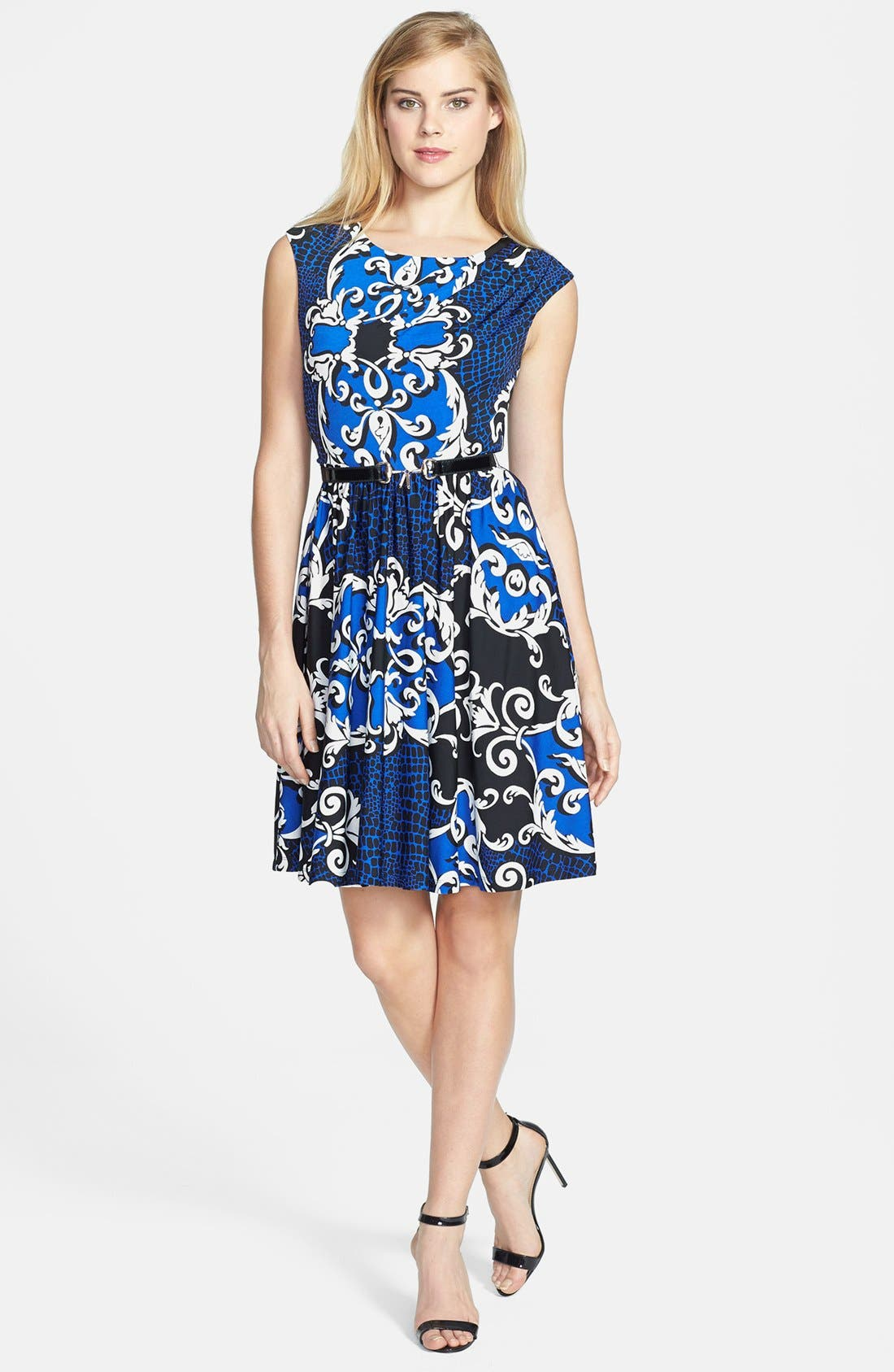 Alternate Image 2  - Ellen Tracy Print Jersey Fit & Flare Dress