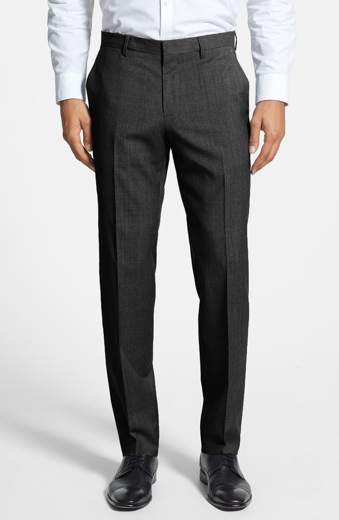 Alternate Image 1 Selected - BOSS 'Genesis' Flat Front Wool Trousers