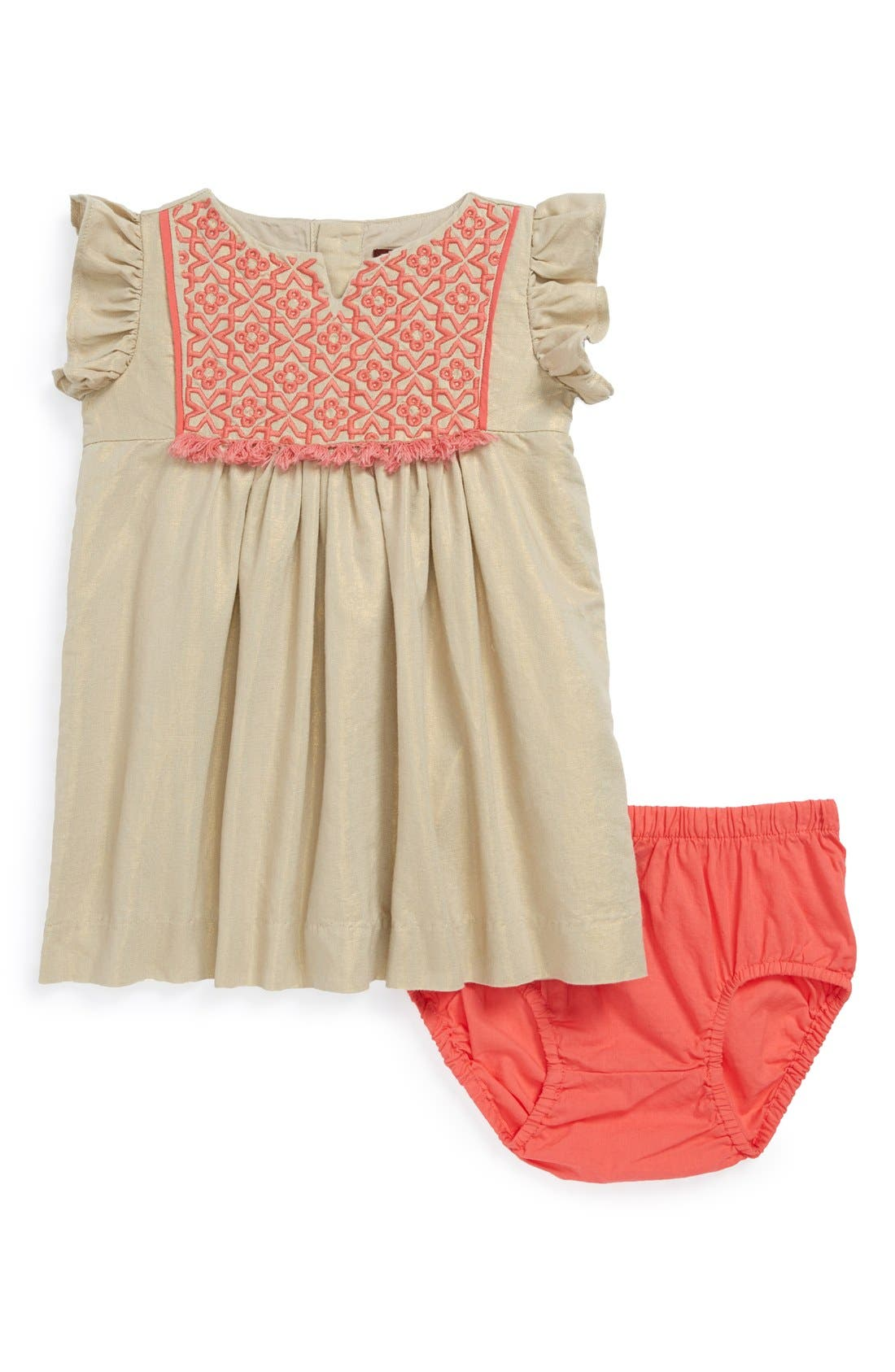 Main Image - Tea Collection 'Nabila Sparkle' Flutter Sleeve Dress & Bloomers (Baby Girls)