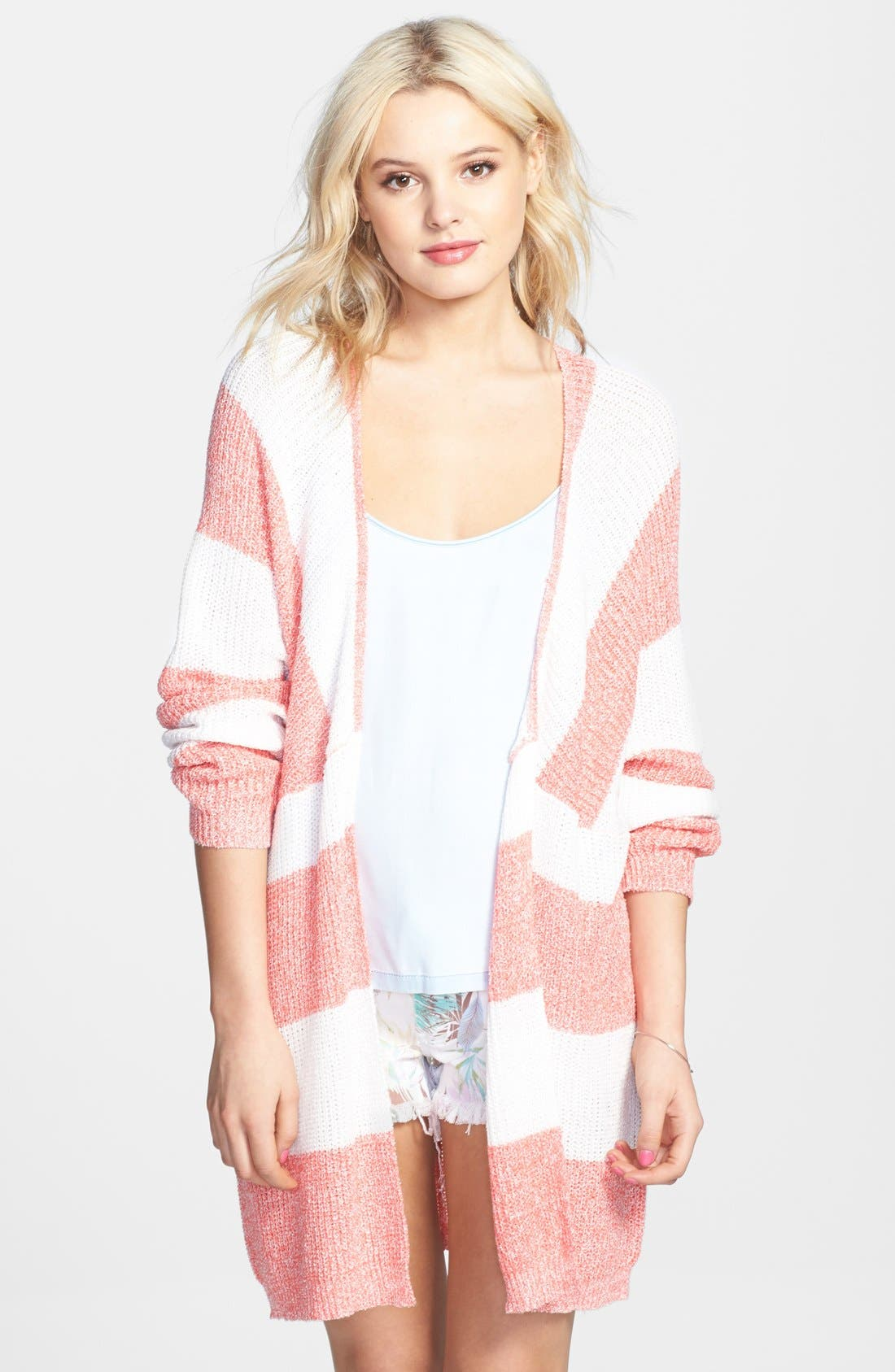 Main Image - BP. Stripe Open Front Long Cardigan (Juniors)