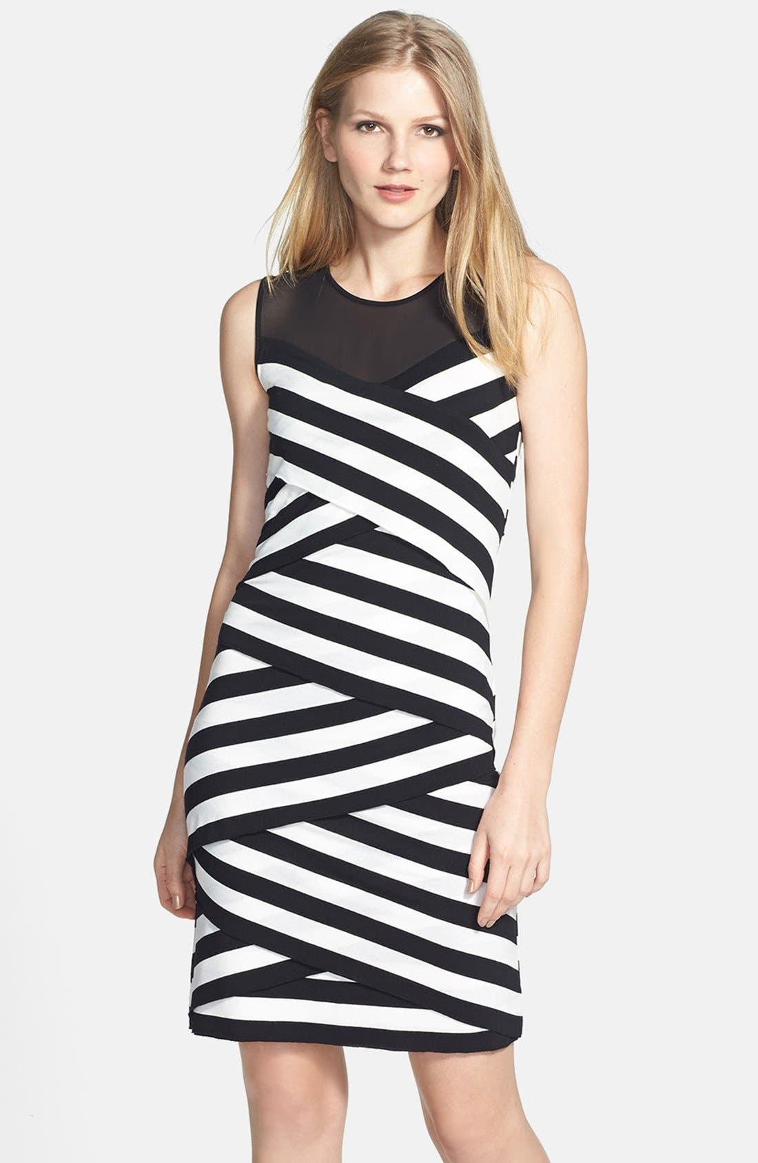 Main Image - Vince Camuto 'Café Stripe' Sheer Inset Zigzag Dress