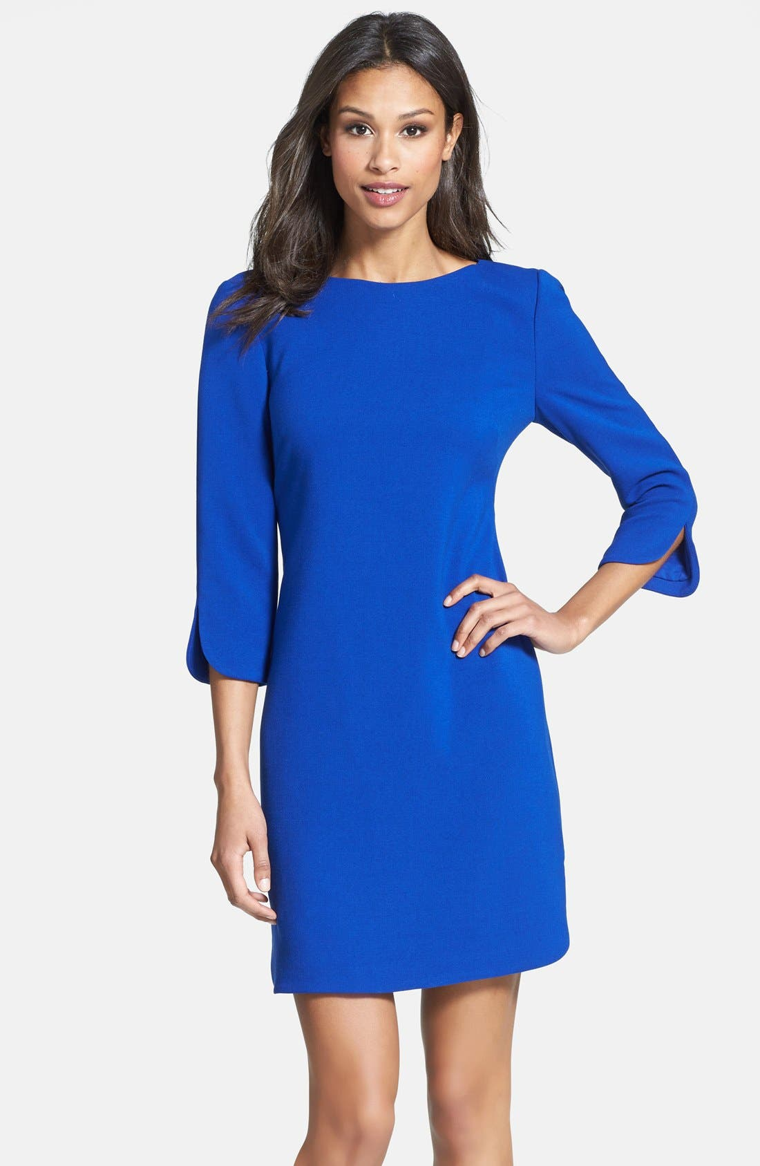 Alternate Image 1 Selected - Eliza J Split Cuff Boatneck Shift Dress (Regular & Petite)