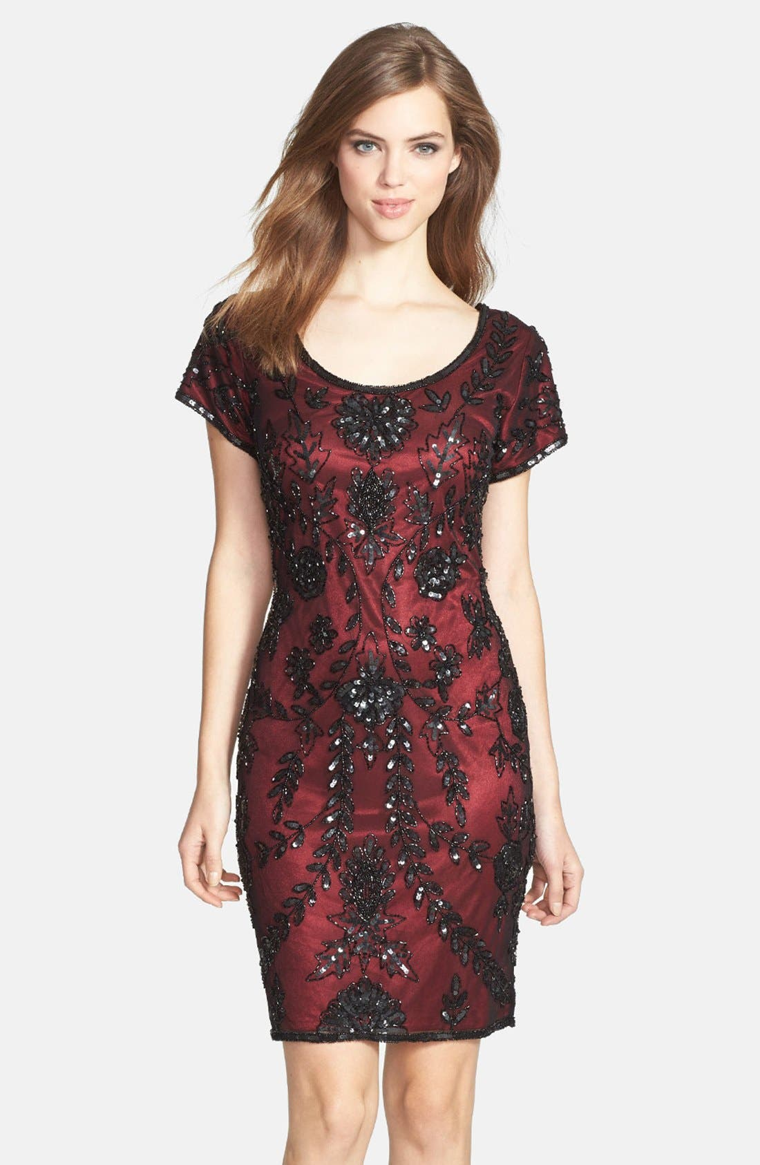 Main Image - Pisarro Nights Sequin Silk Chiffon Dress