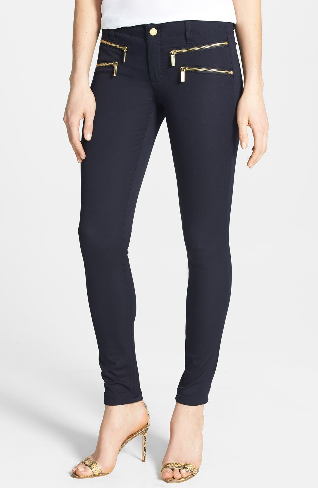 Alternate Image 1 Selected - MICHAEL Michael Kors 'Rocker' Navy Skinny Pants