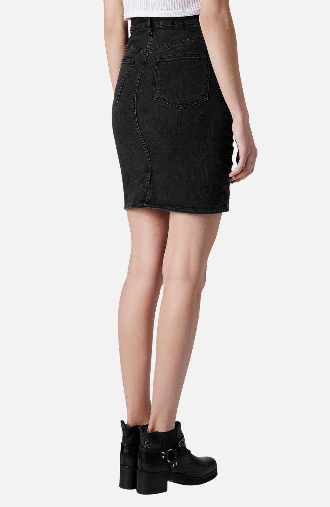 Alternate Image 2  - Topshop Moto Embroidered Denim Pencil Skirt