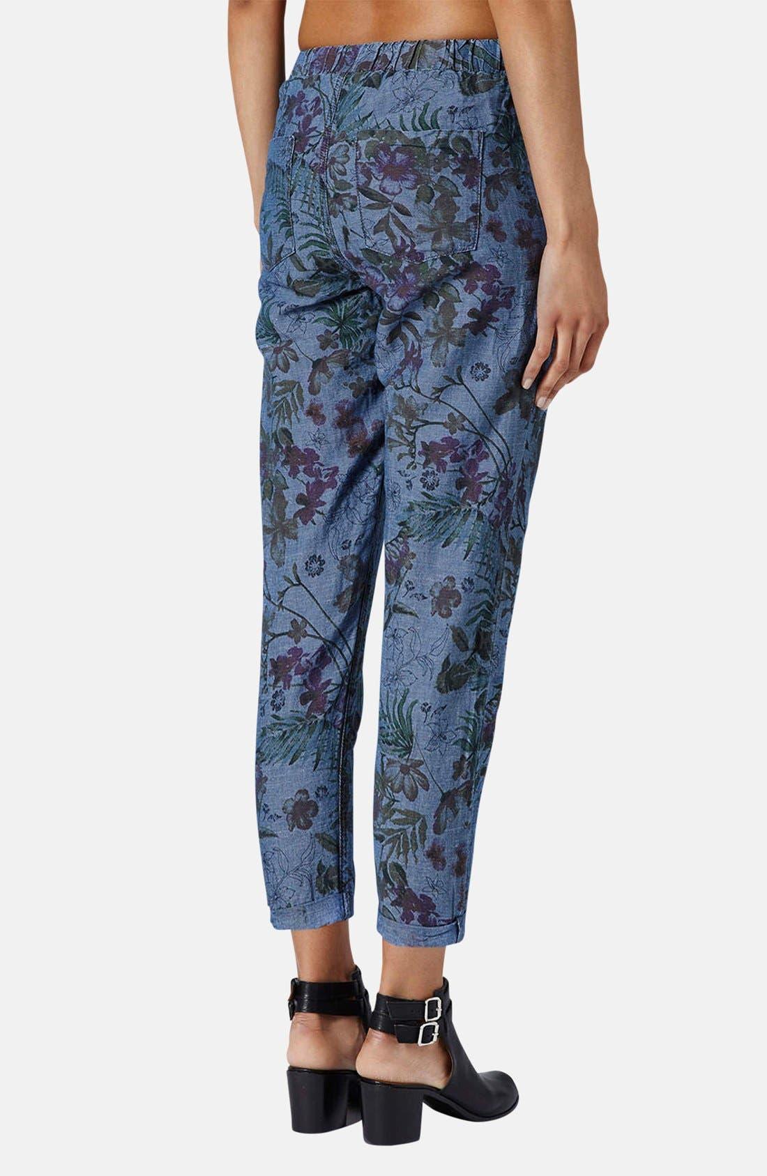 Alternate Image 2  - Topshop Moto Floral Print Jogger Pants
